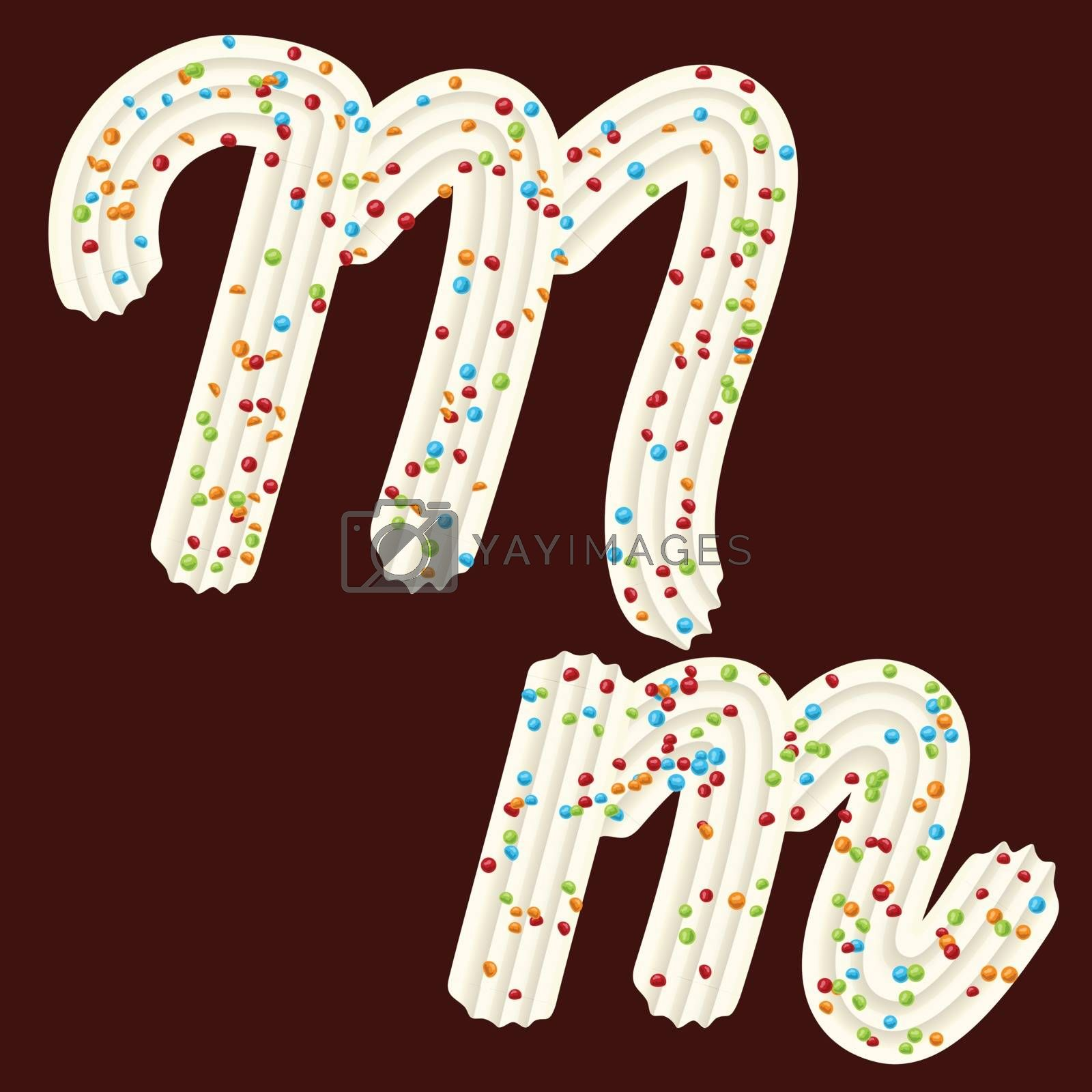 Tempting tipography. Font design. Icing letter. Sweet 3D letter M of the whipped cream and candy. Vector