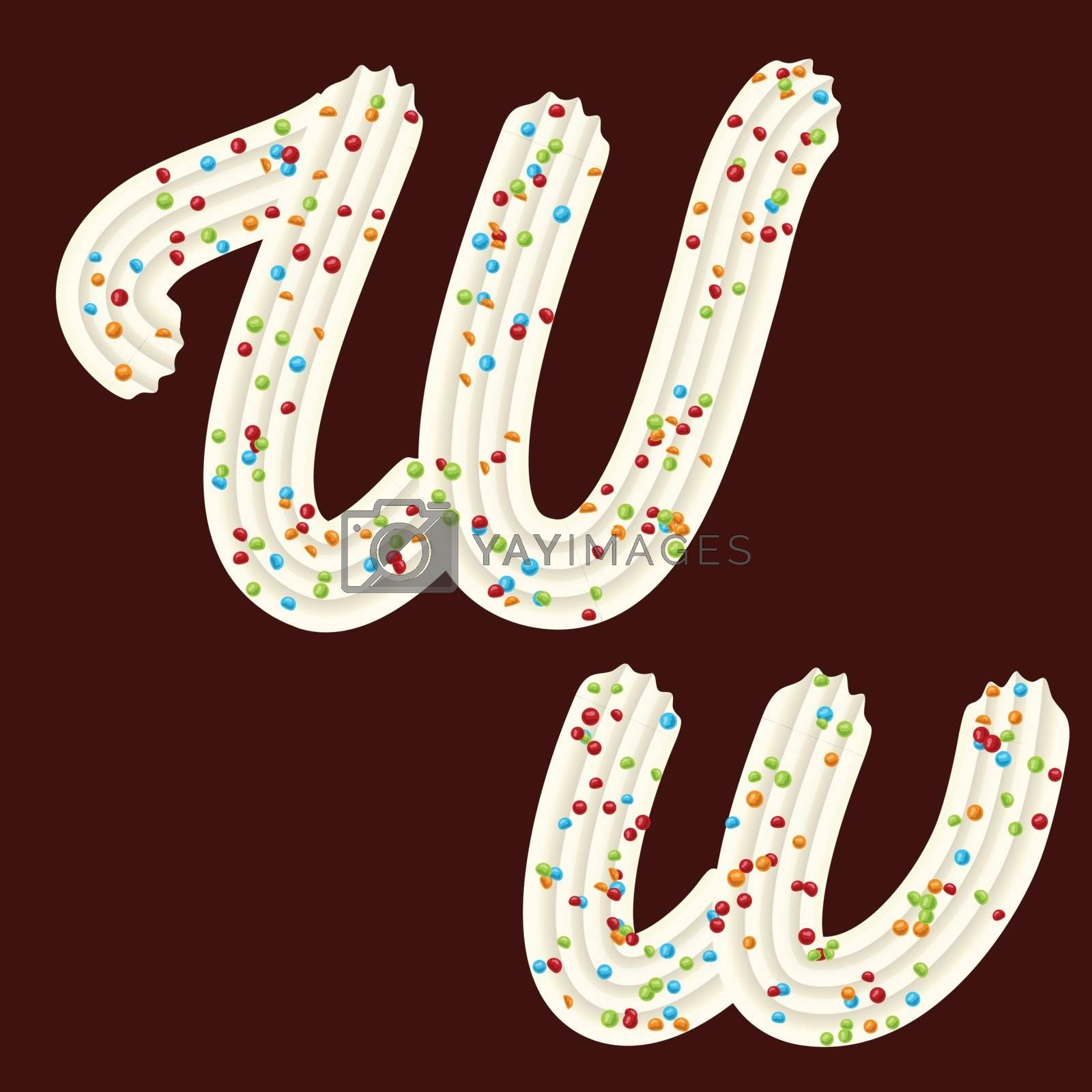 Tempting tipography. Font design. Icing letter. Sweet 3D letter W of the whipped cream and candy. Vector