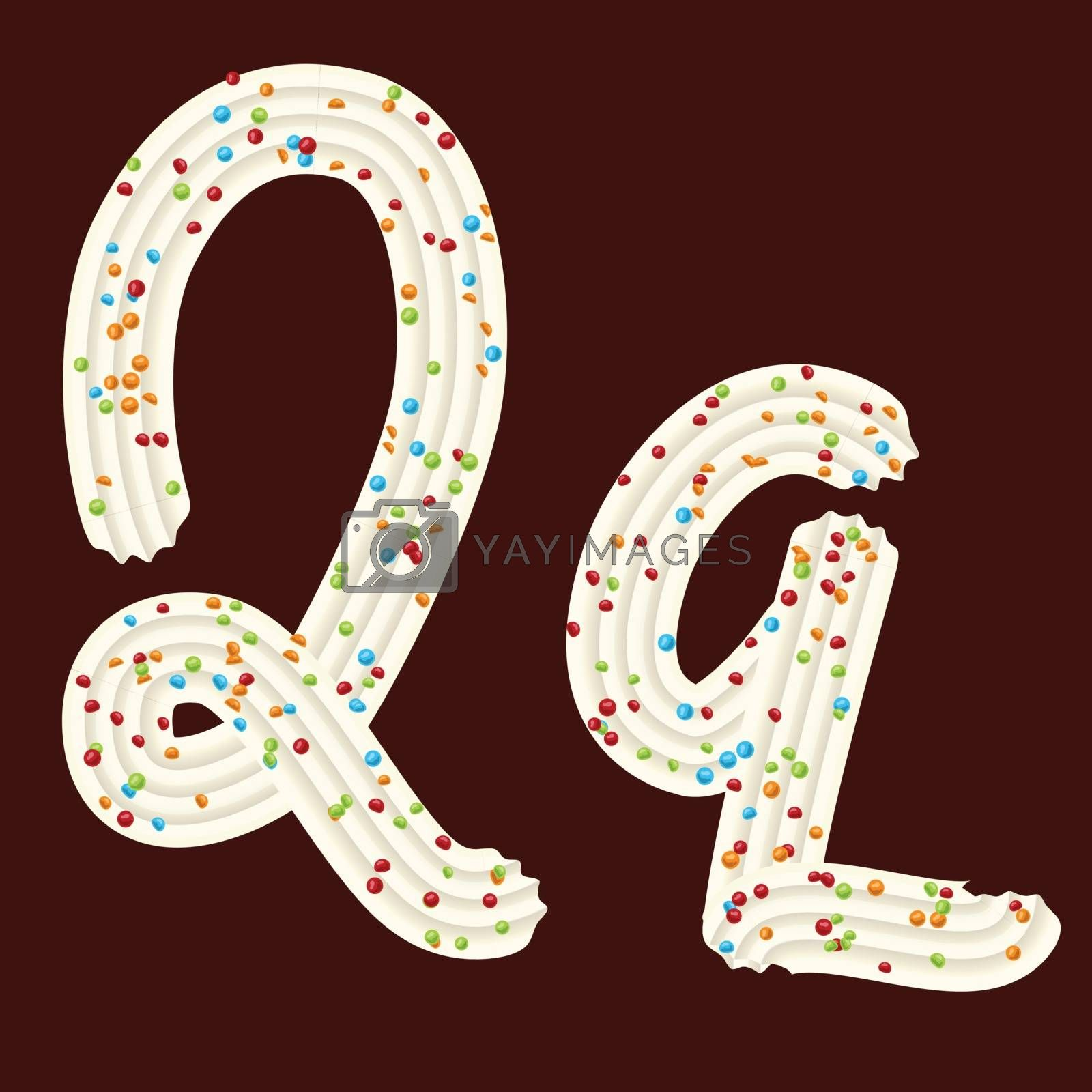 Tempting tipography. Font design. Icing letter. Sweet 3D letter Q of the whipped cream and candy. Vector