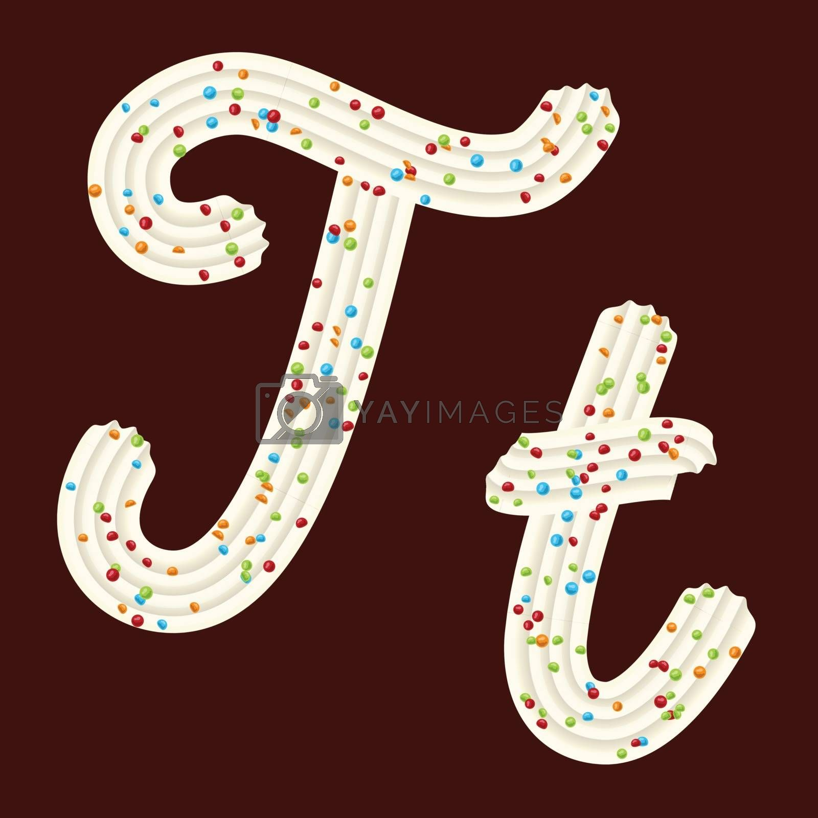 Tempting tipography. Font design. Icing letter. Sweet 3D letter T of the whipped cream and candy. Vector
