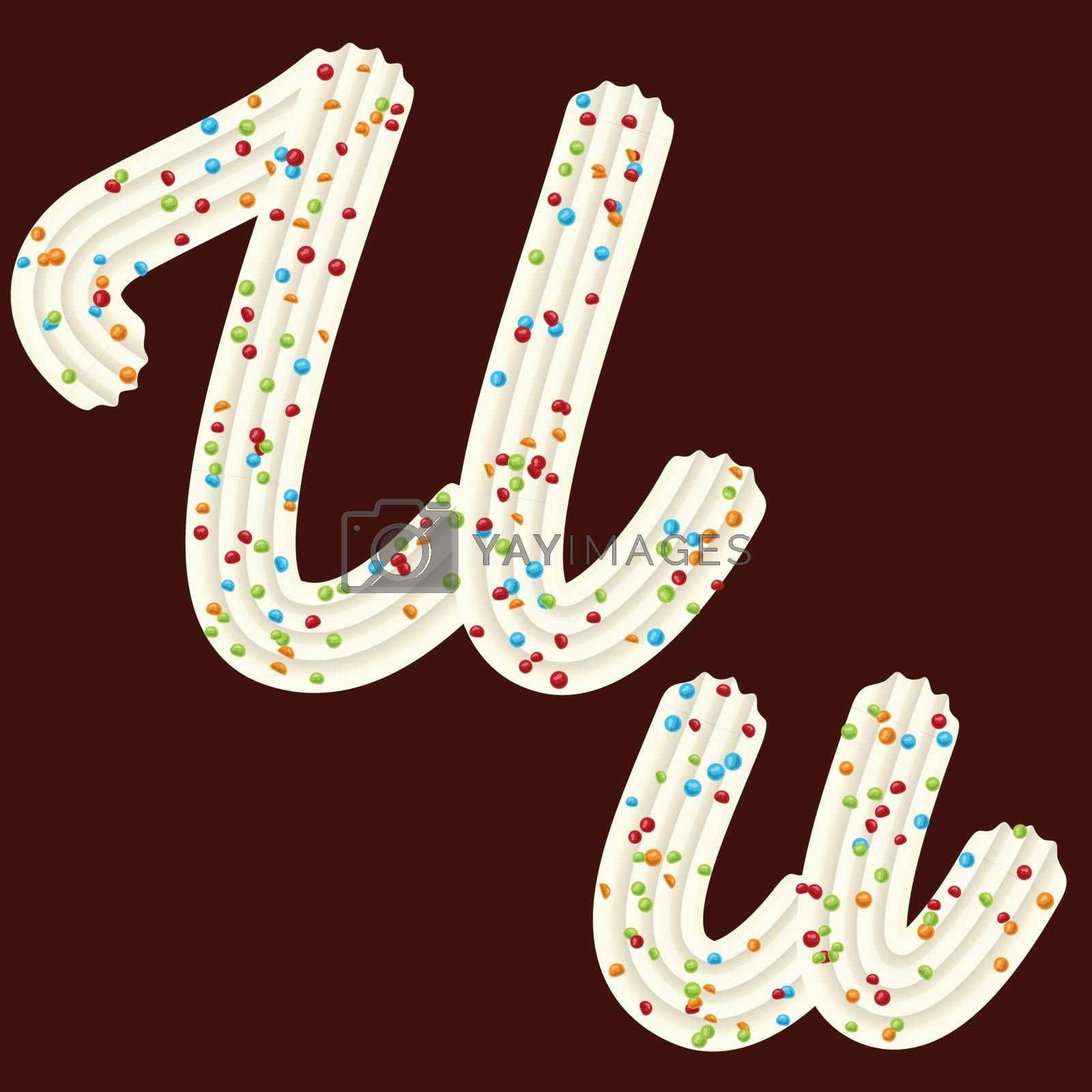 Tempting tipography. Font design. Icing letter. Sweet 3D letter U of the whipped cream and candy. Vector