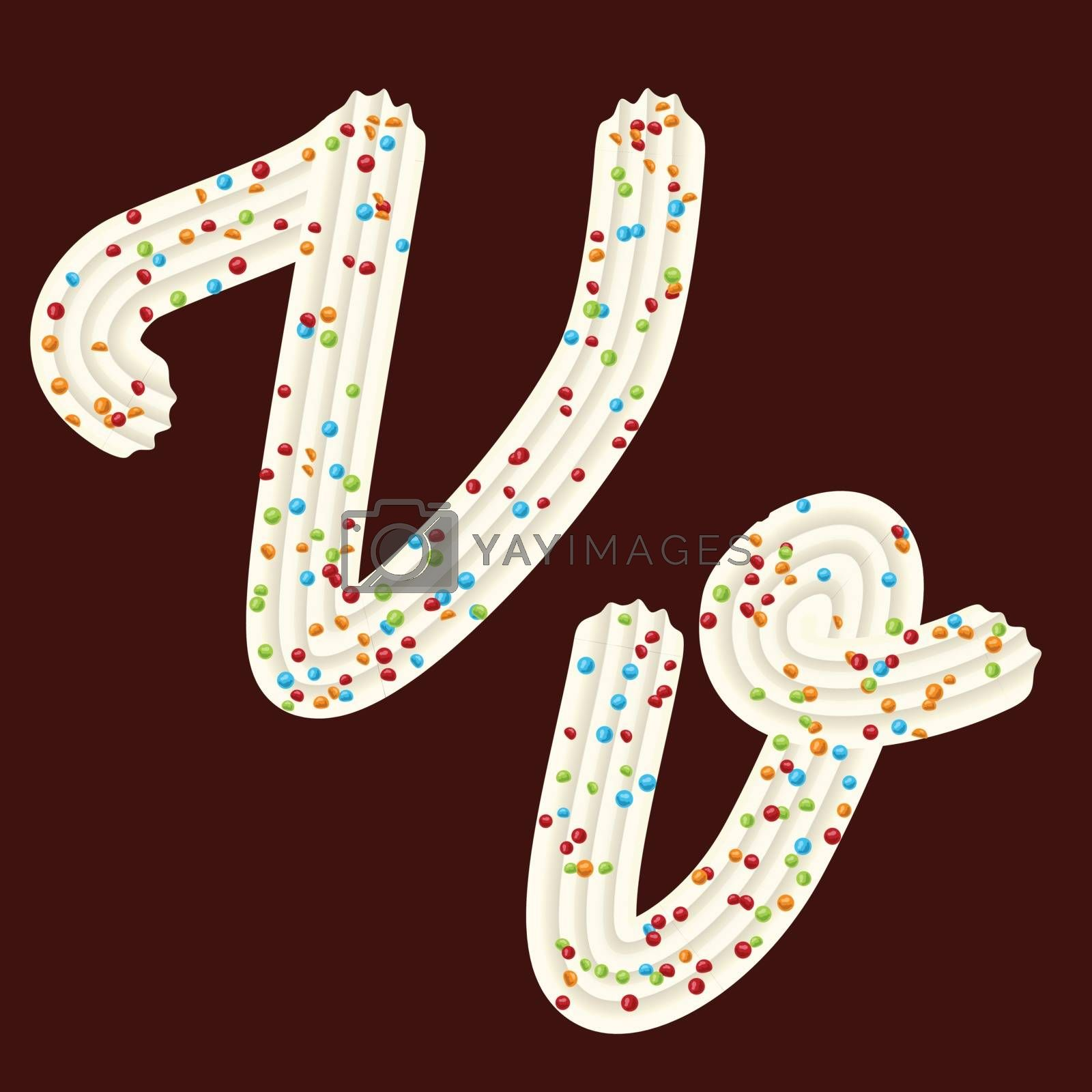 Tempting tipography. Font design. Icing letter. Sweet 3D letter V of the whipped cream and candy. Vector