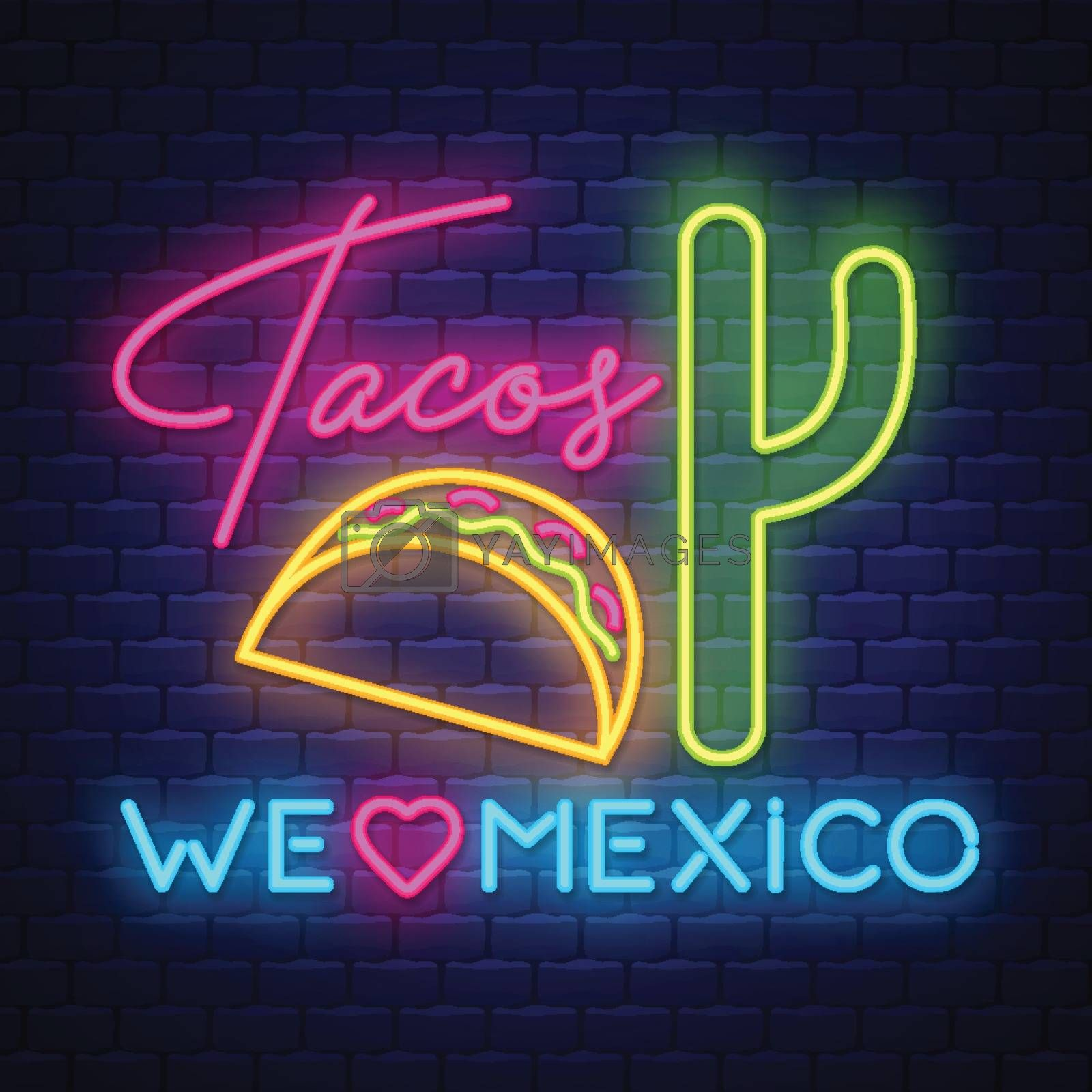 Tacos- Neon Sign Vector. Tacos - Badge in neon style on brick wall background, design element, light banner, announcement neon signboard, night advensing. Vector Illustration
