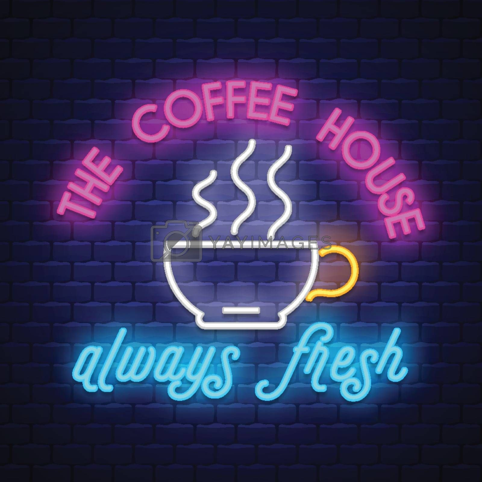 Coffee- Coffee Sign Vector. Tacos - Badge in neon style on brick wall background, design element, light banner, announcement neon signboard, night advensing. Vector Illustration