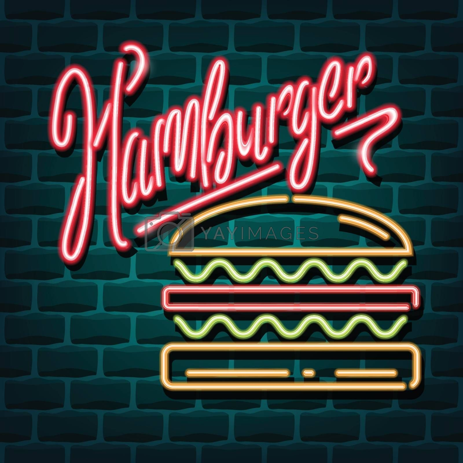 hamburger neon advertising sign. Vector