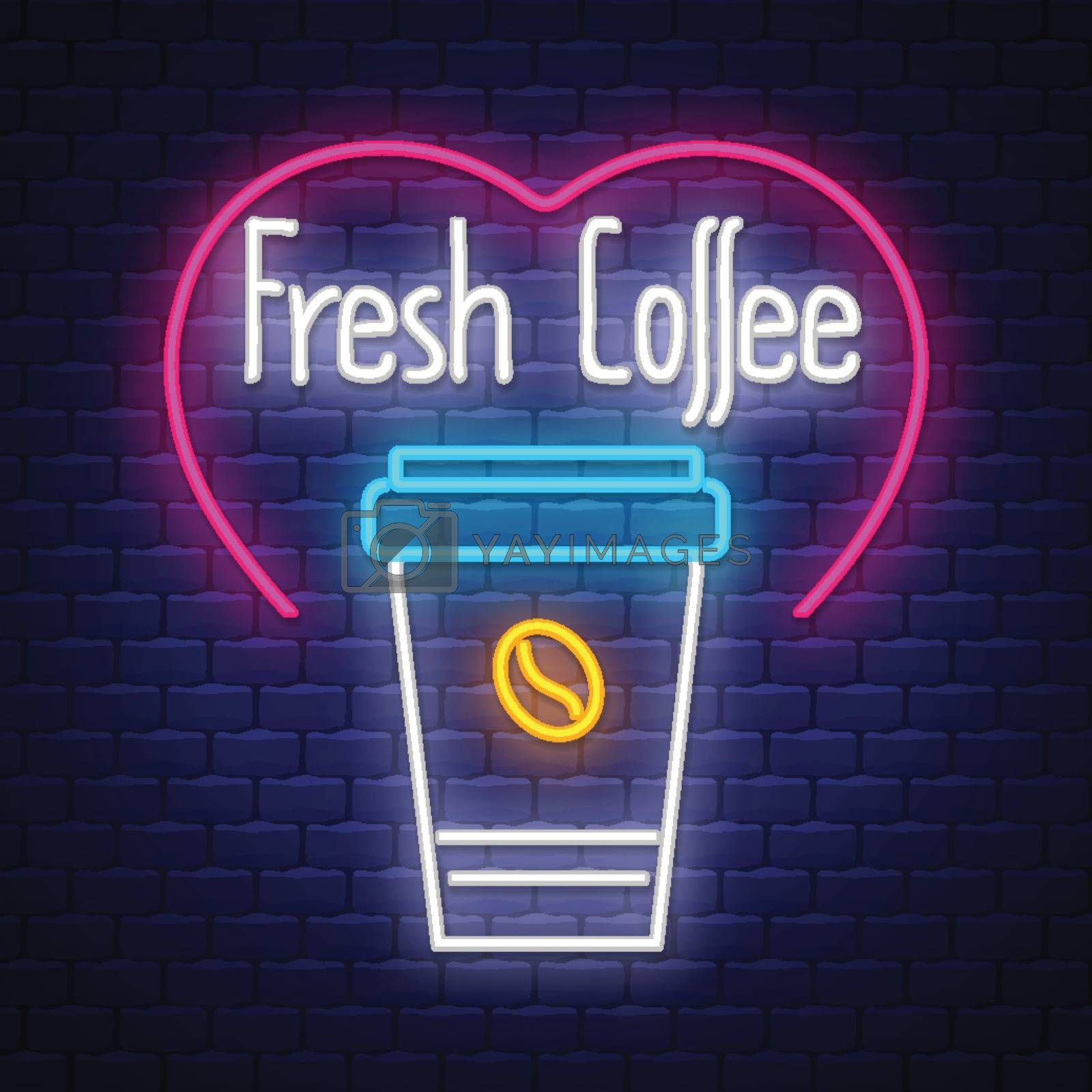 Fresh Coffee- Neon Sign Vector. Fresh Coffee - Badge in neon style on brick wall background, design element, light banner, announcement neon signboard, night advensing. Vector Illustration