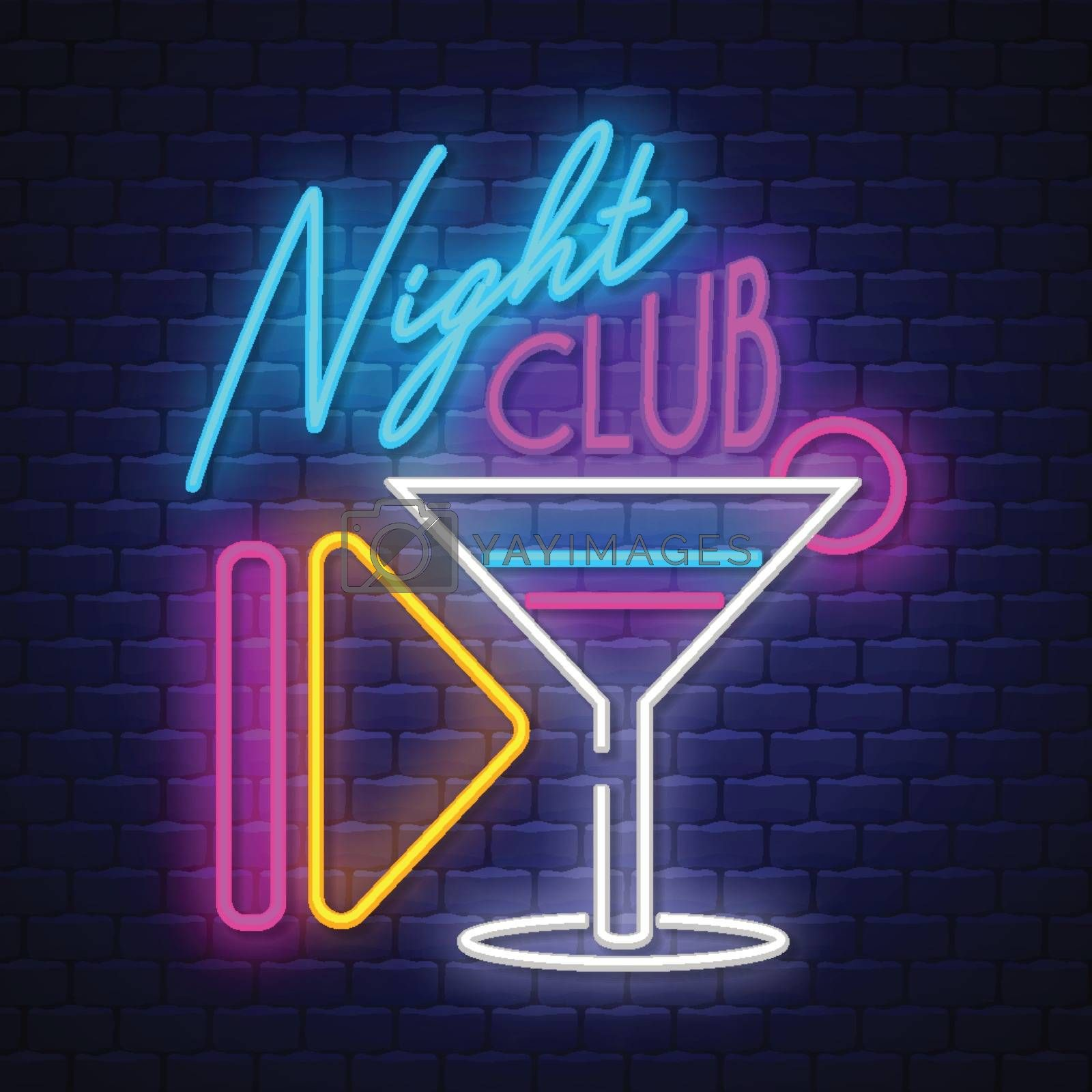 Night Club- Neon Sign Vector. Night Cllub - Badge in neon style on brick wall background, design element, light banner, announcement neon signboard, night advensing. Vector Illustration