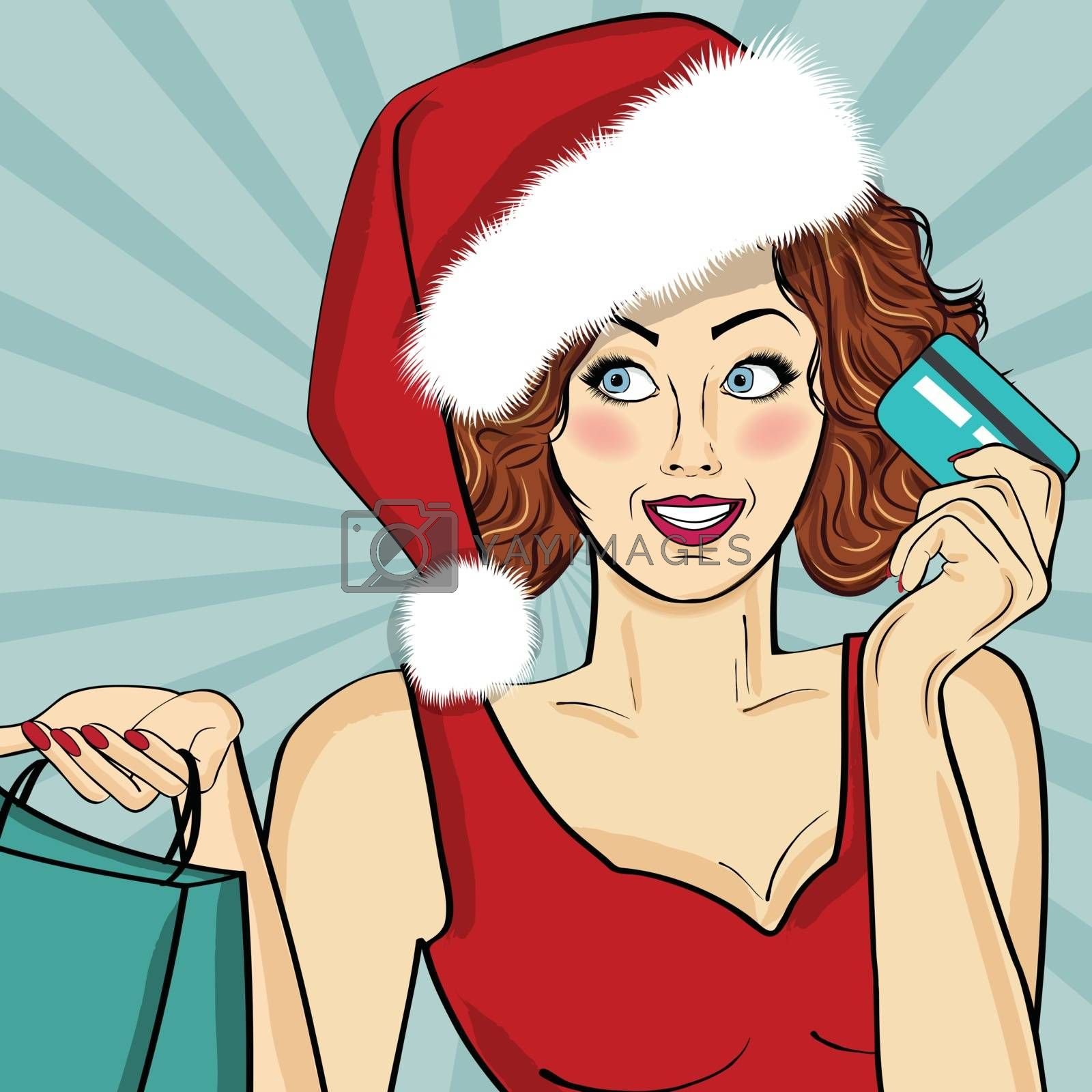 Santa Girl with bags and credit card. Pop art illustration