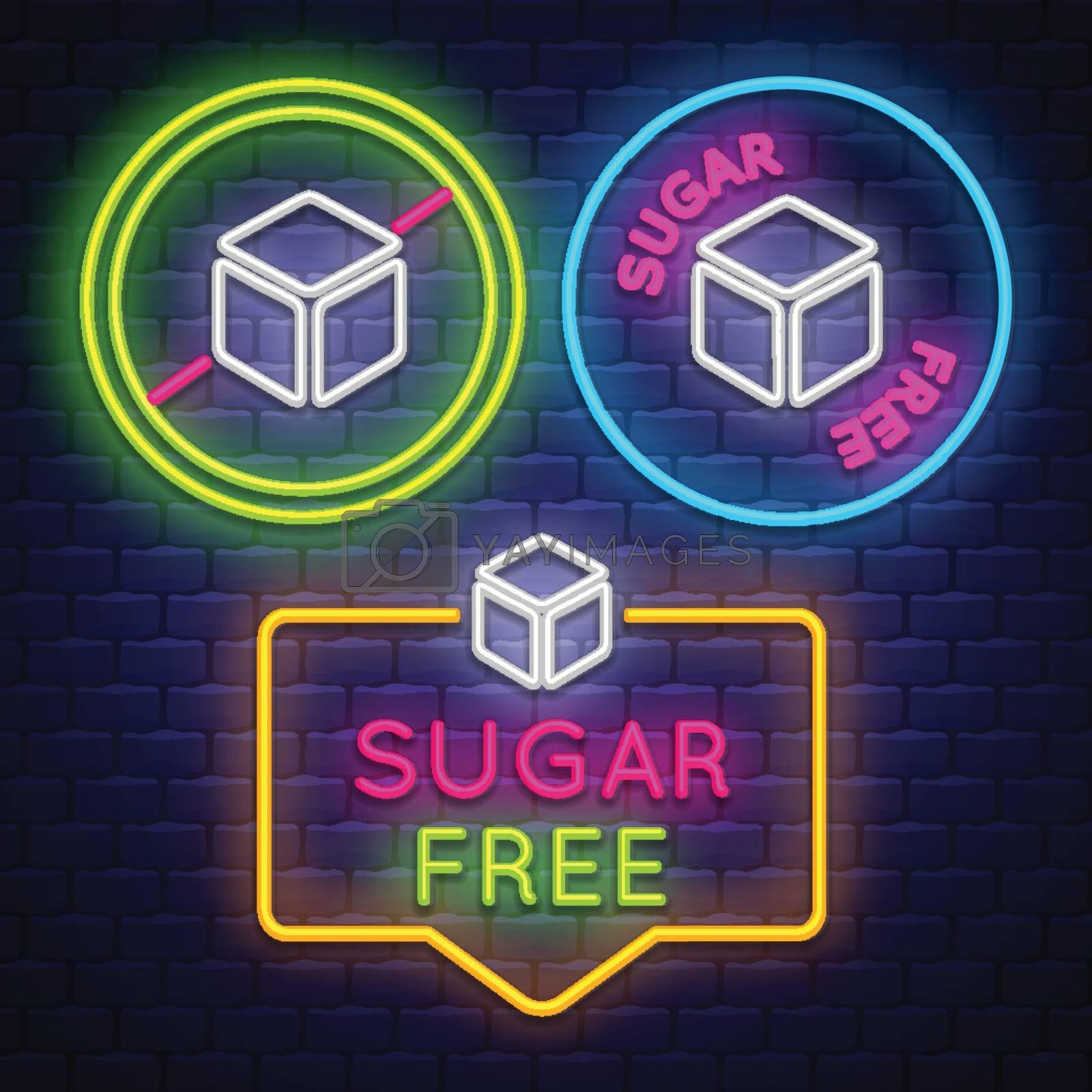 Sugar Free badge collection . Diabet sign. Neon sign. Vector