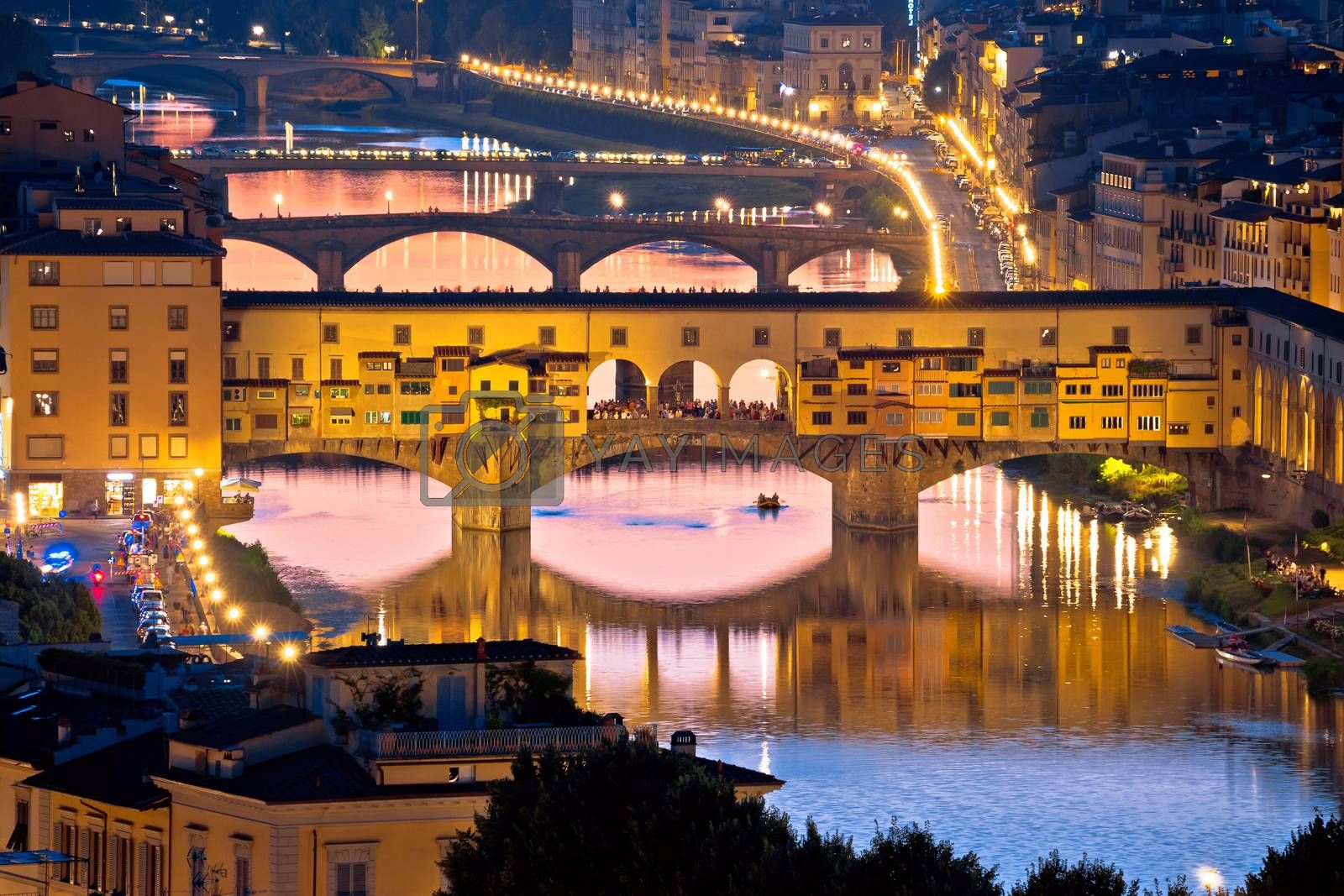 Florence cityscape and Arno river bridges sunset view, Ponte Vecchio, Tuscany region of Italy