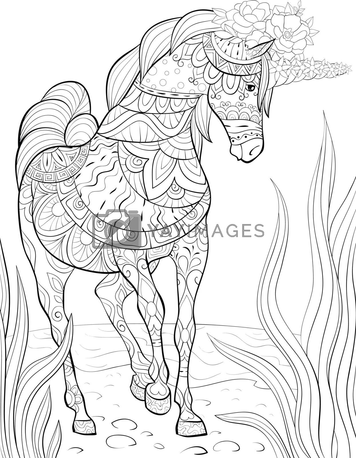Adult Coloring Book Page A Cute Unicorn For Relaxing Zen Art Sty Royalty Free Stock Image Stock Photos Royalty Free Images Vectors Footage Yayimages
