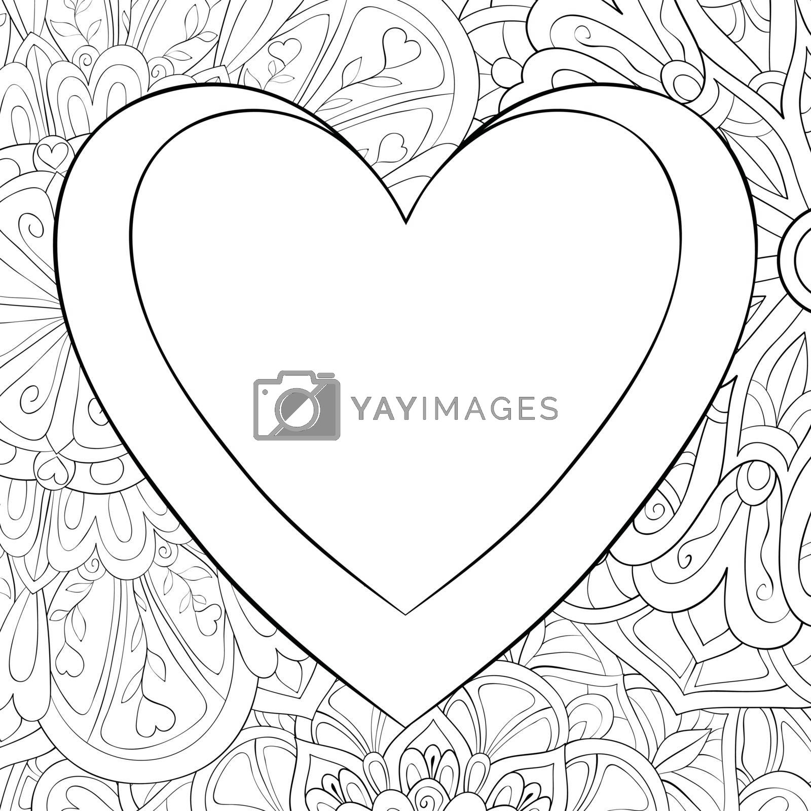 A cute heart with ornaments image for relaxing.A coloring book,page for adults.Zen art style illustration for print.Poster design.