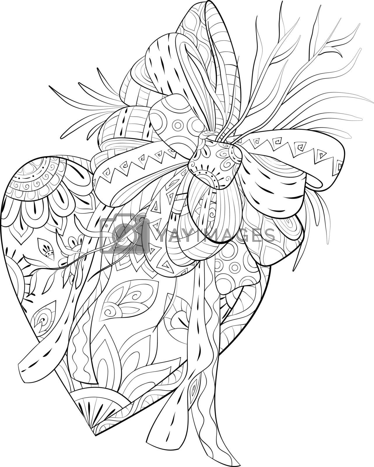 A cute heart with bow and leaves with ornaments image for relaxing.A coloring book,page for adults.Zen art style illustration for print.Poster design.