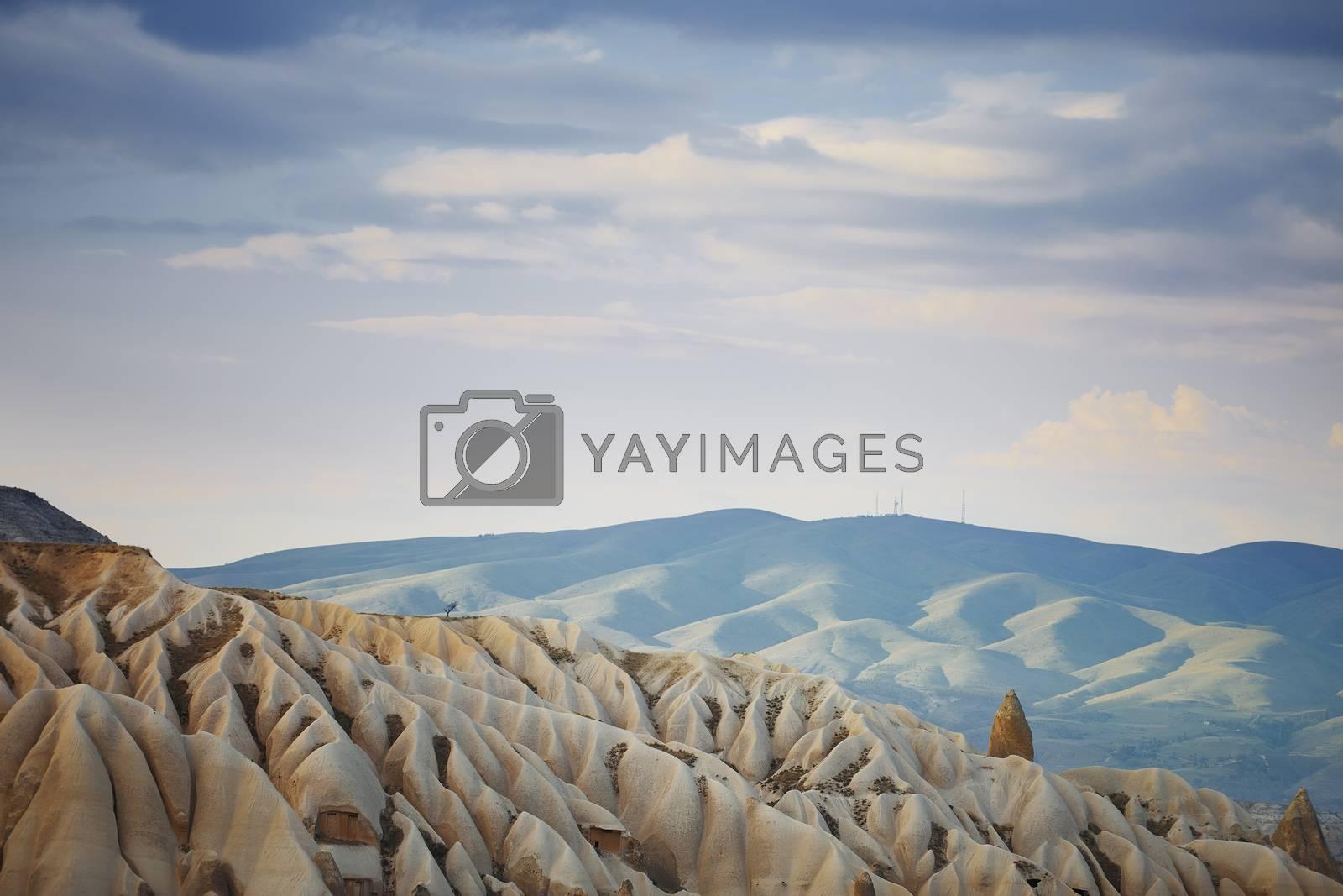 Rock limestone and tuff formations in Cappadocia, Turkey