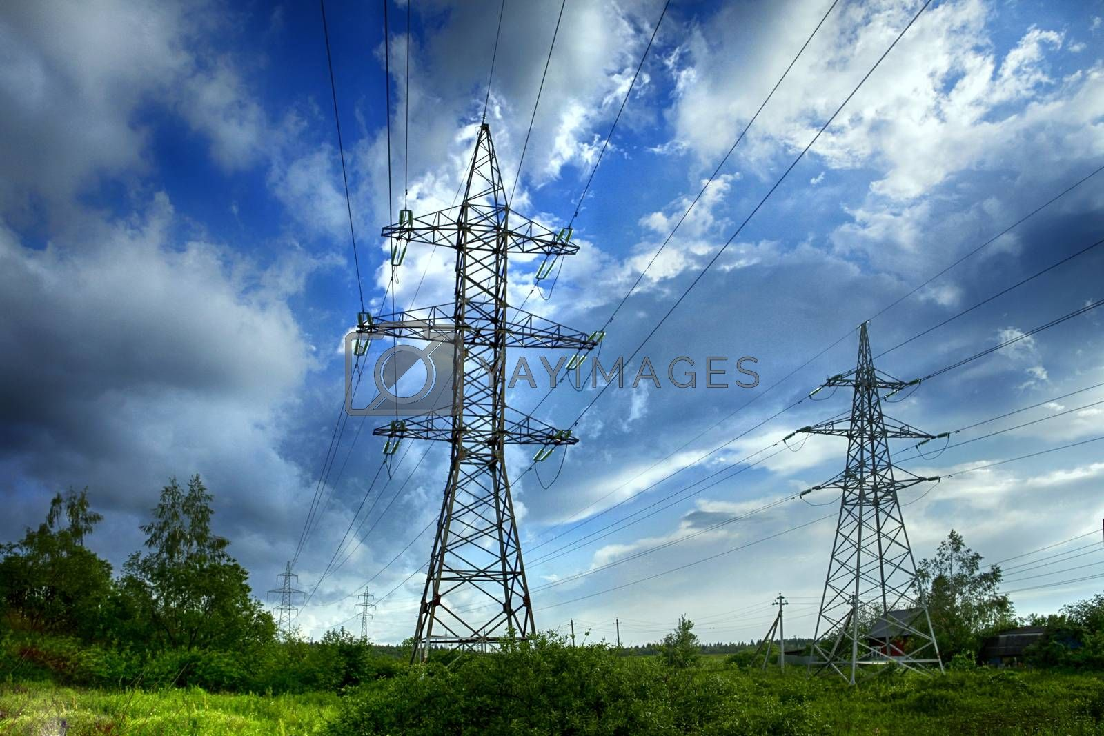 transmission tower on blue sky background by friday