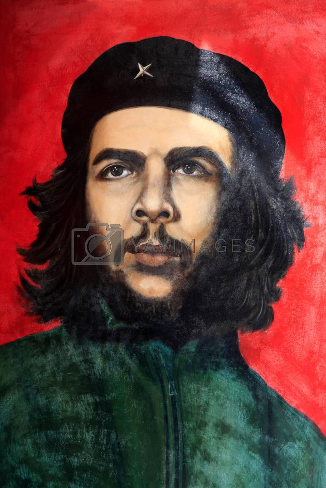 Havana, Cuba - January 10, 2019 : Che Guevara painting in Old Havana. Taken January 10, 2019  in Old Havana, Cuba.