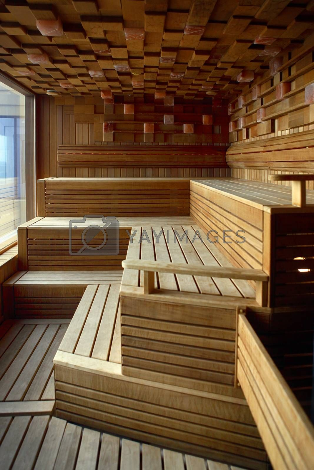 Royalty free image of Interior of Finnish sauna by friday