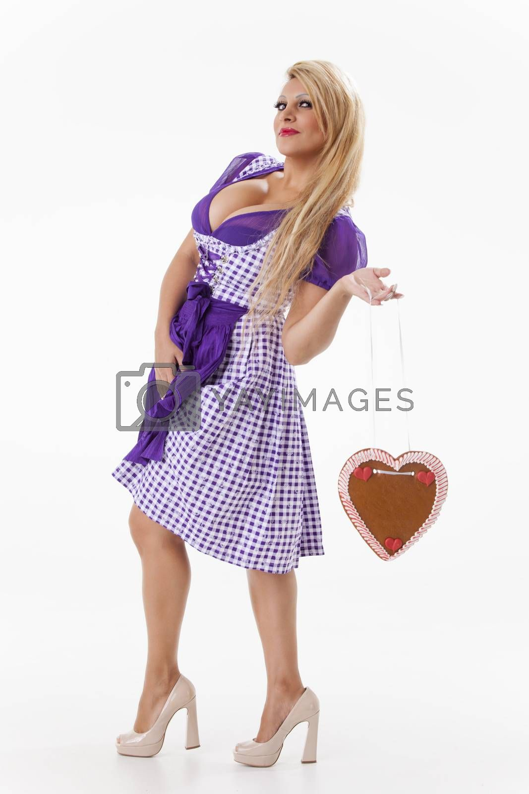 bavarian woman in a purple dirndl