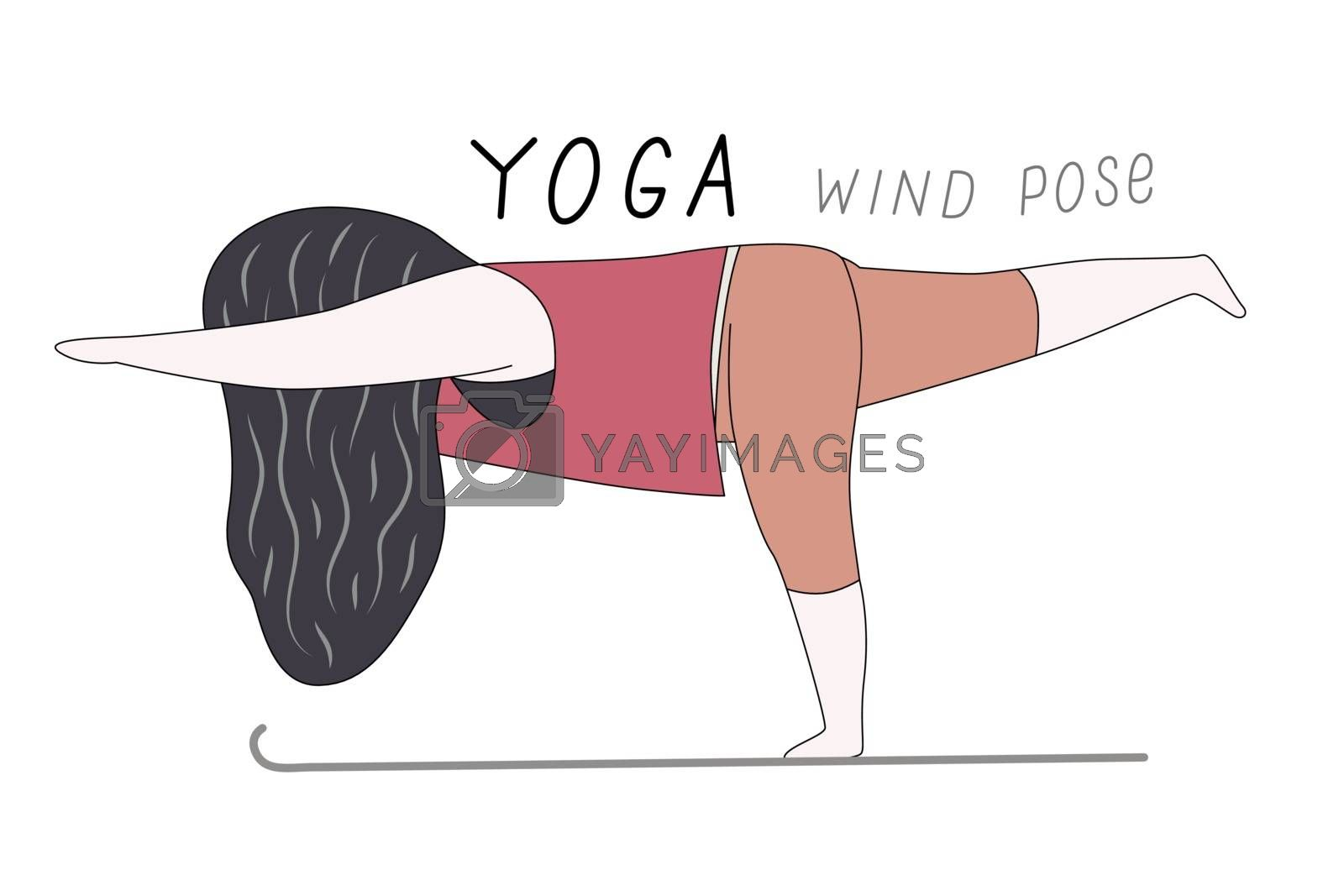 Cartoon vector illustration of a girl standing on a mat in a wind yoga pose, on one leg, stretching out the other one and two hands and lettering Yoga wind pose