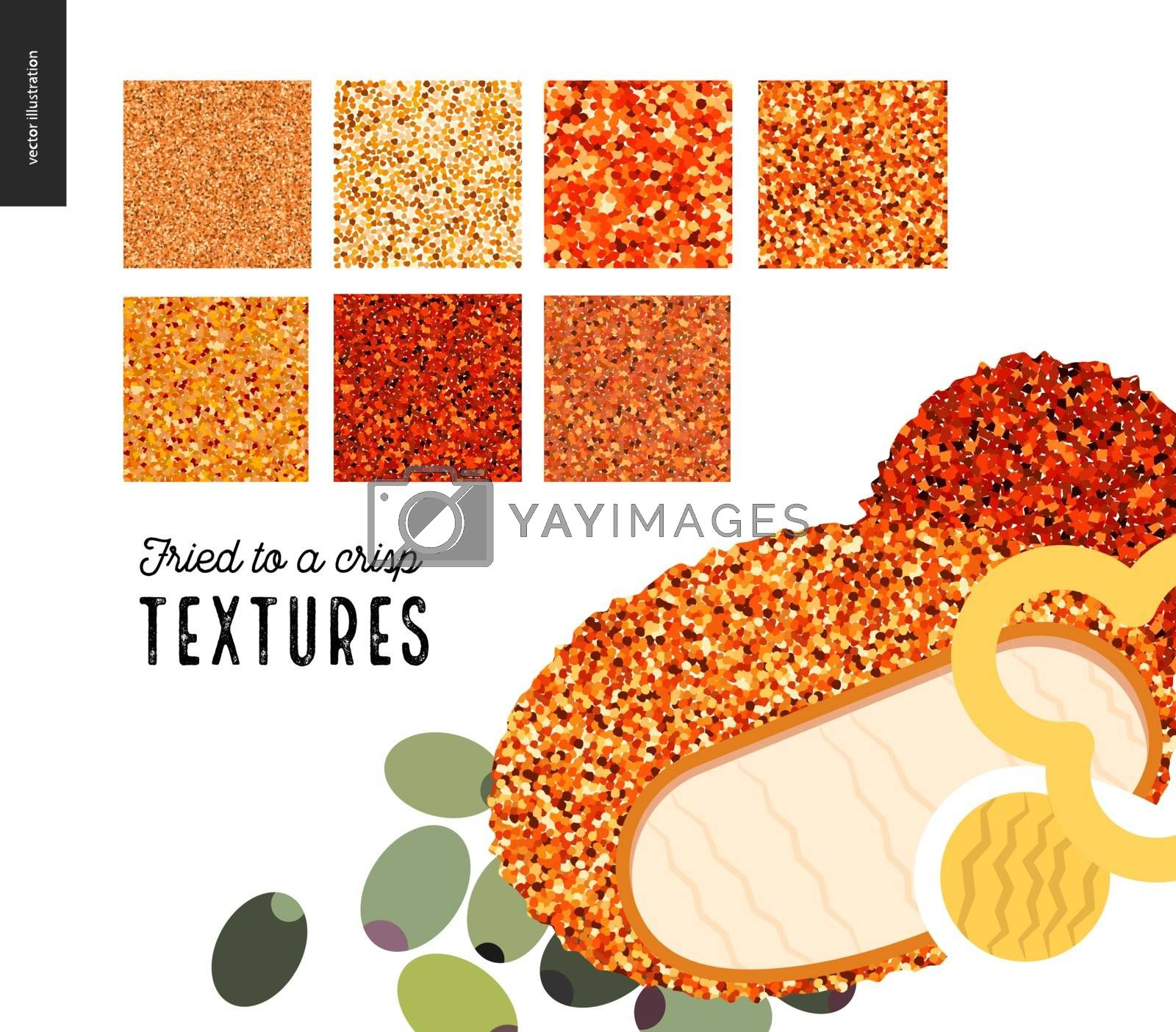 Meat fried texture patterns. Flat vector cartoon illustrated seamless patterns of fried meat skin with a usage example of prepared food.