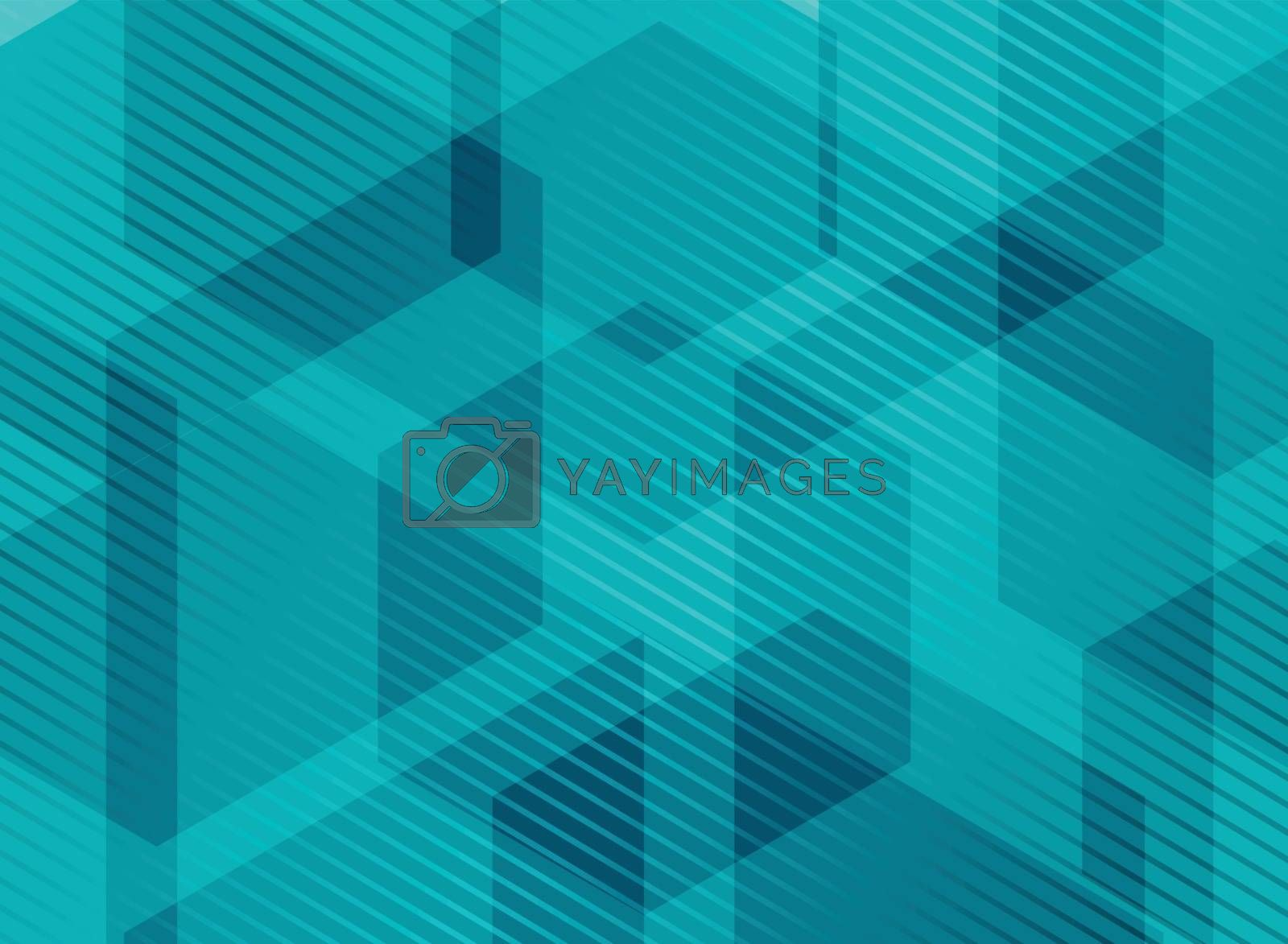 Abstract geometric hexagons blue background with striped lines. You can use for brochure, presentation, poster, leaflet, flyer, print, advertising, banner, website. Vector illustration