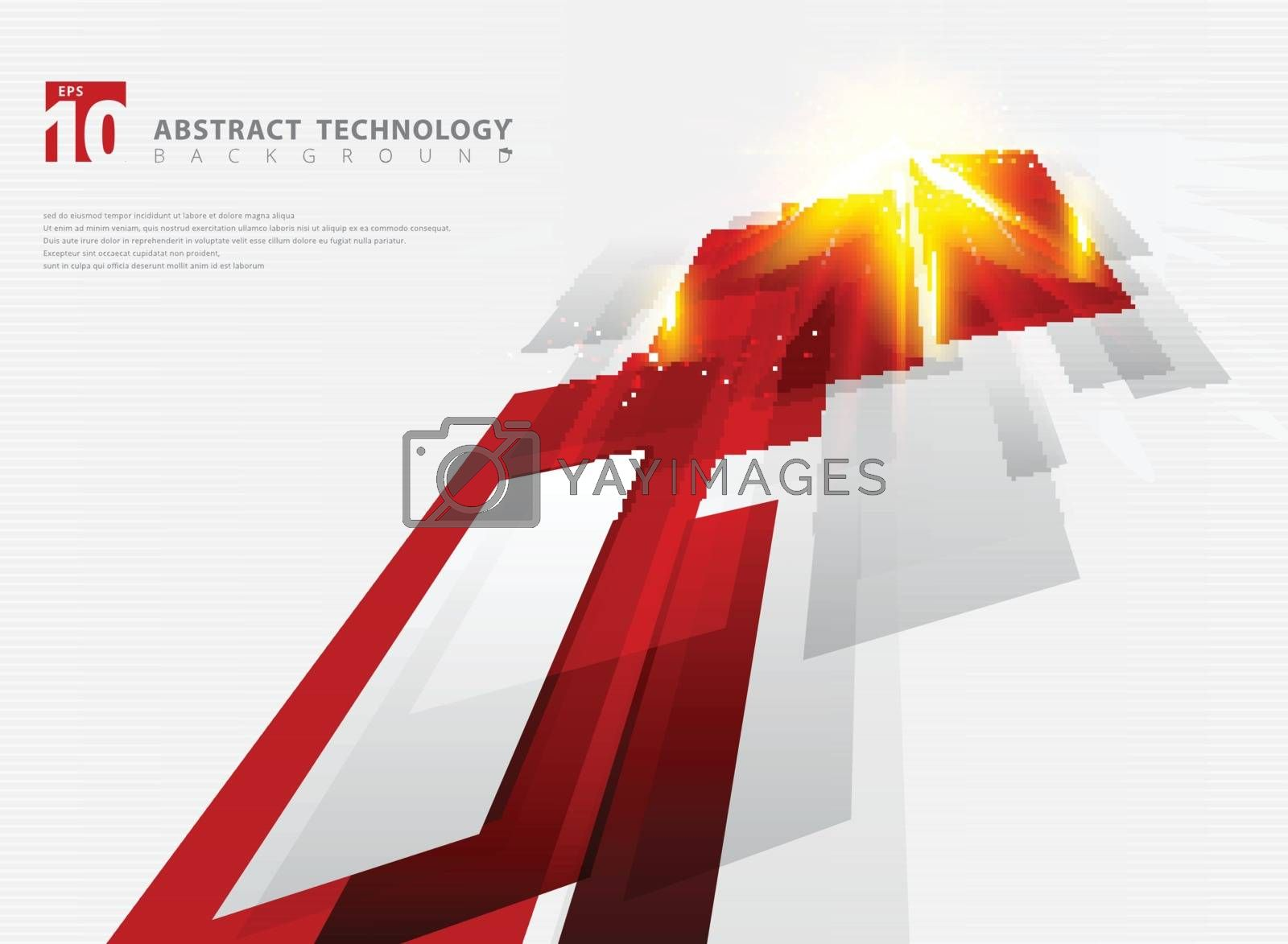 Abstract perspective technology geometric red color shiny motion background and lines texture with lighting burst effect.  for brochure, print, ad, magazine, poster, website, magazine, leaflet, annual report. Vector corporate design