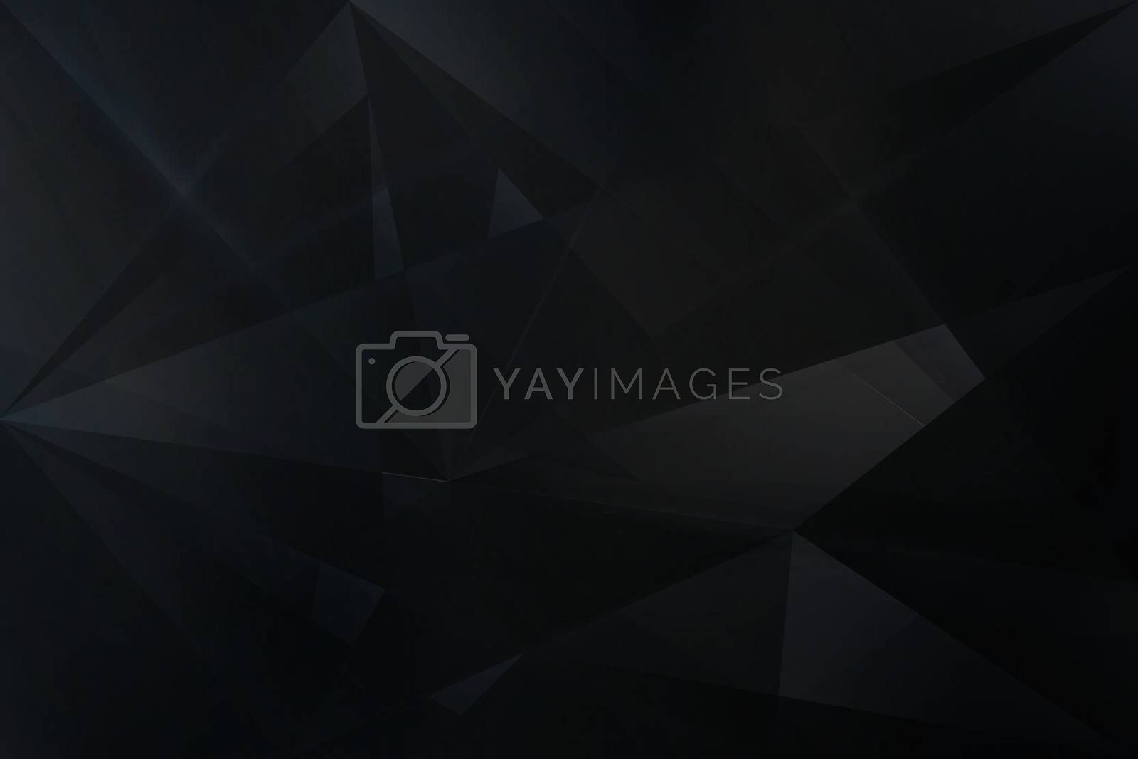 Abstract black geometric low polygon background. Triangles mosaic texture. Vector illustration