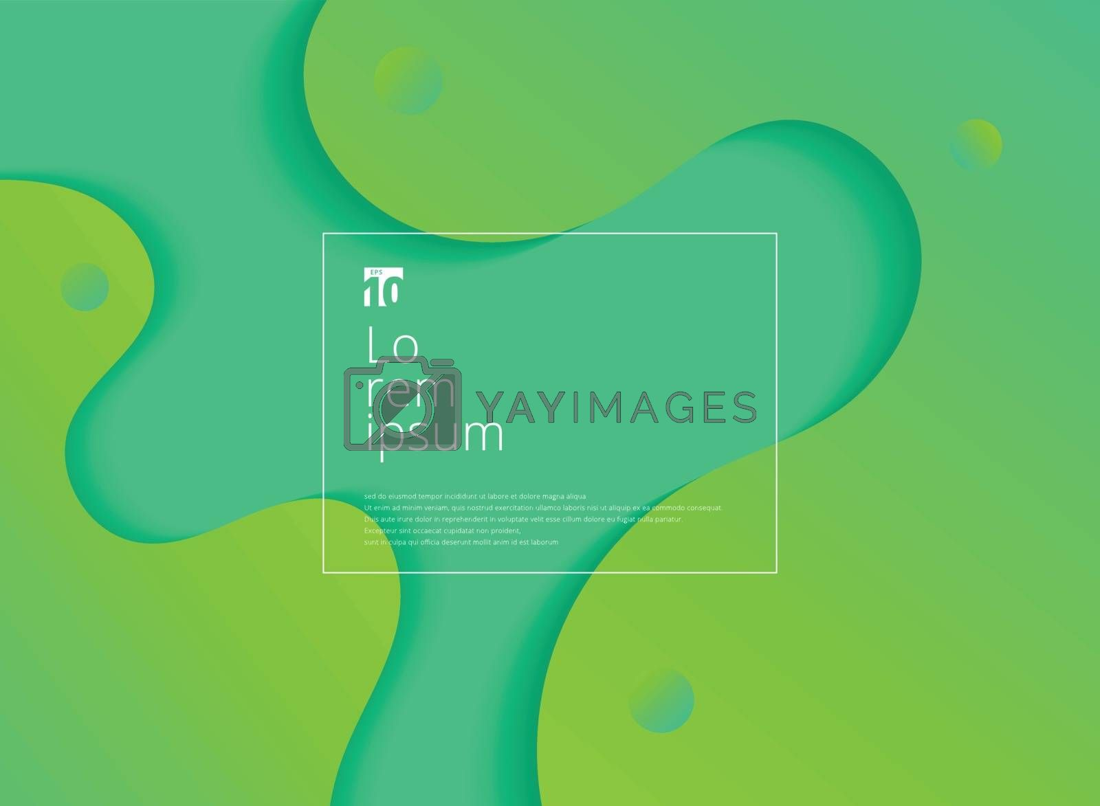 Abstract wavy geometric dynamic 3D green background. Trendy gradient fluid shapes composition modern concept. Vector illustration