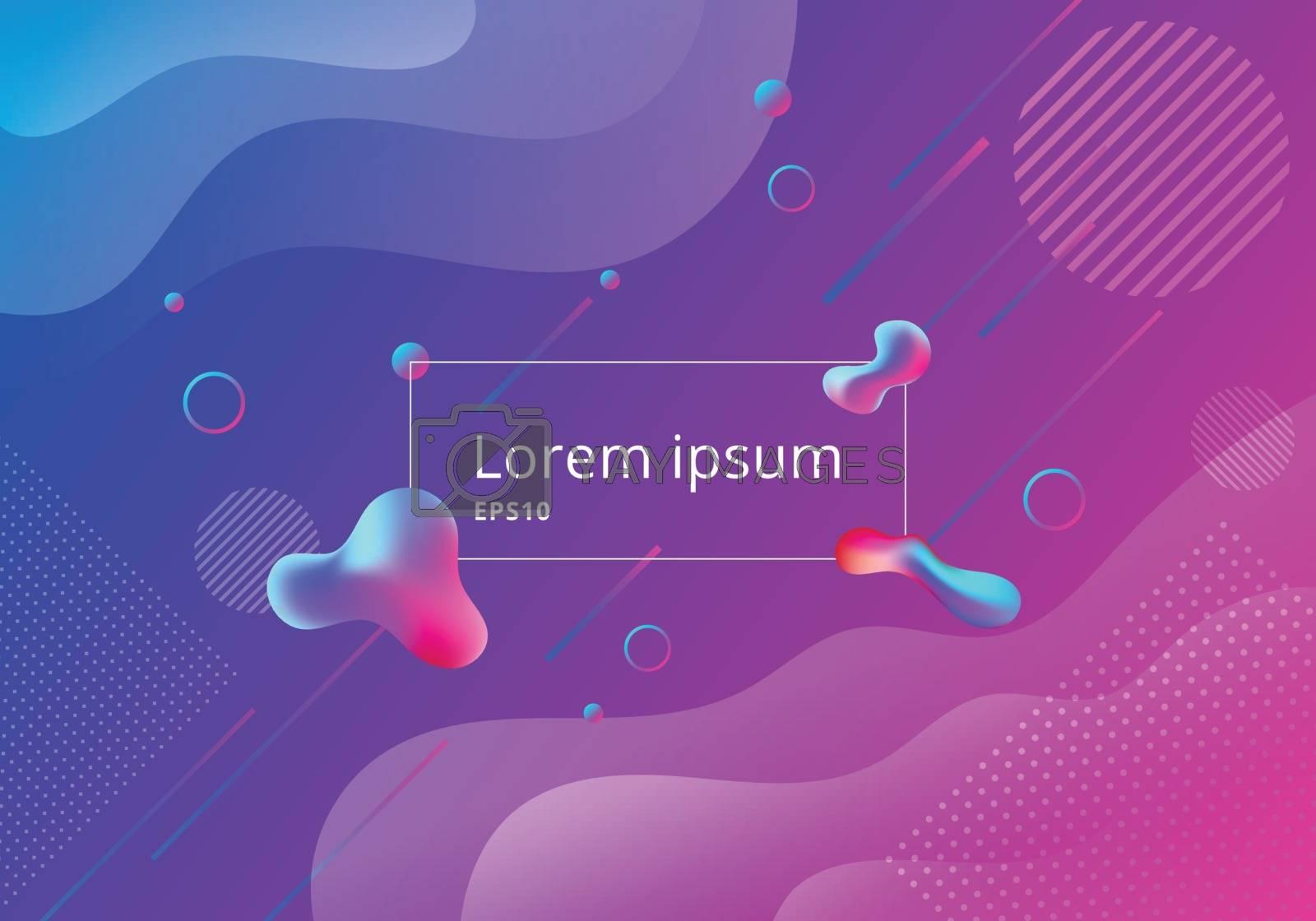 Fluid style gradient geometric shapes composition vibrant color background. Liquid color dynamic shape design. Vector illustration