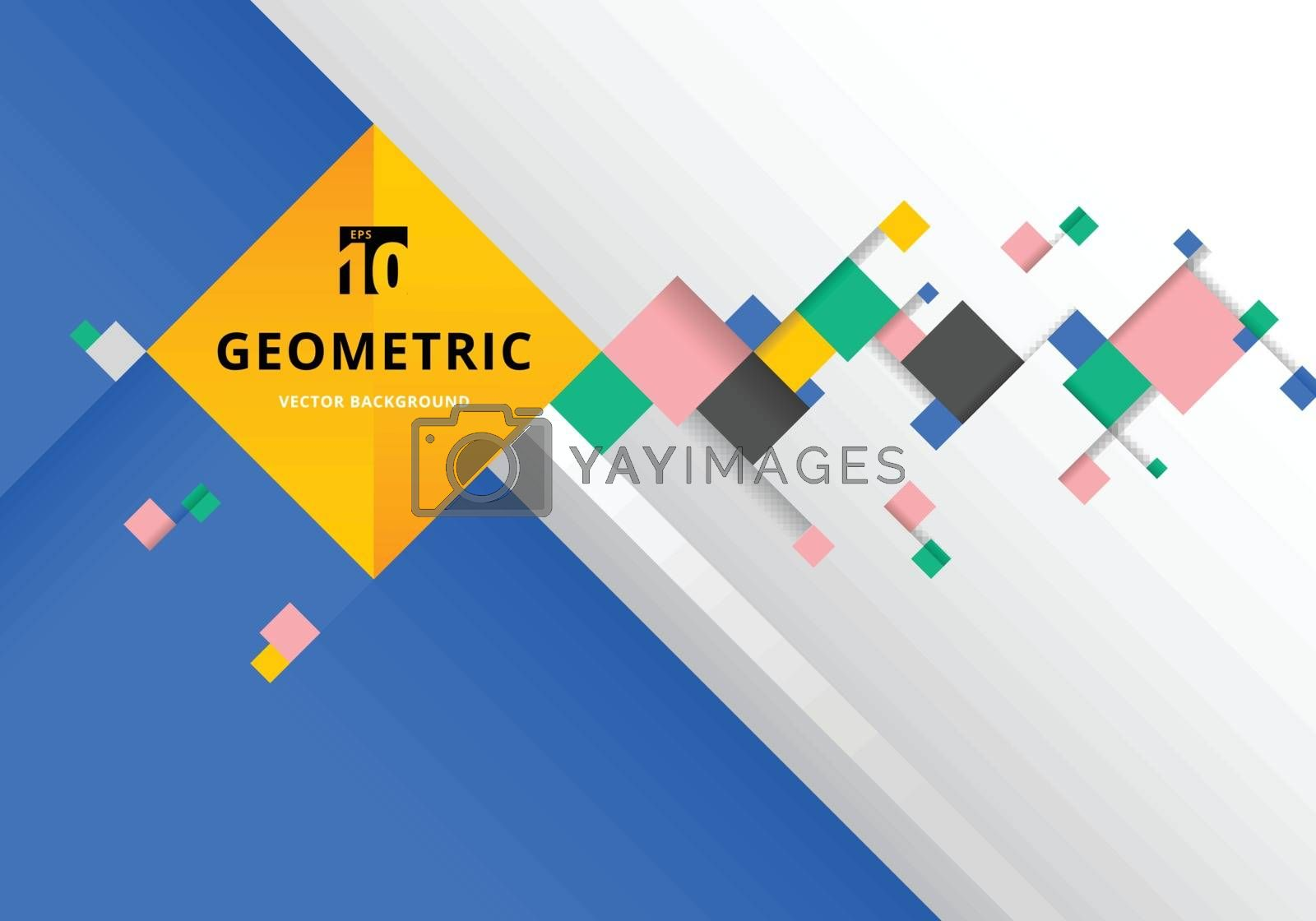 Abstract template colorful squares with shadow futuristic composition background modern style. Geometric pattern shape. Vector illustration