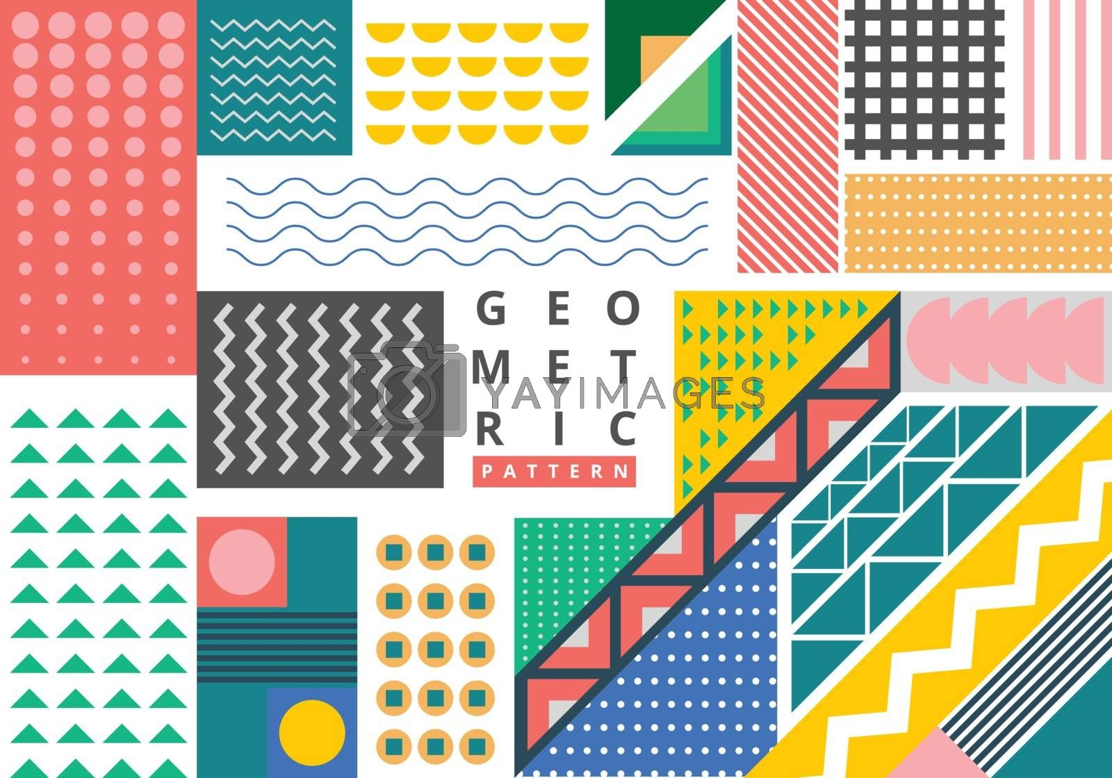 Abstract bundle bright geometric pattern memphis style with copy space background. Trendy fashion 80-90s. You can use for ad, presentation, broxhure, poster, banner web, and more. Vector illustration