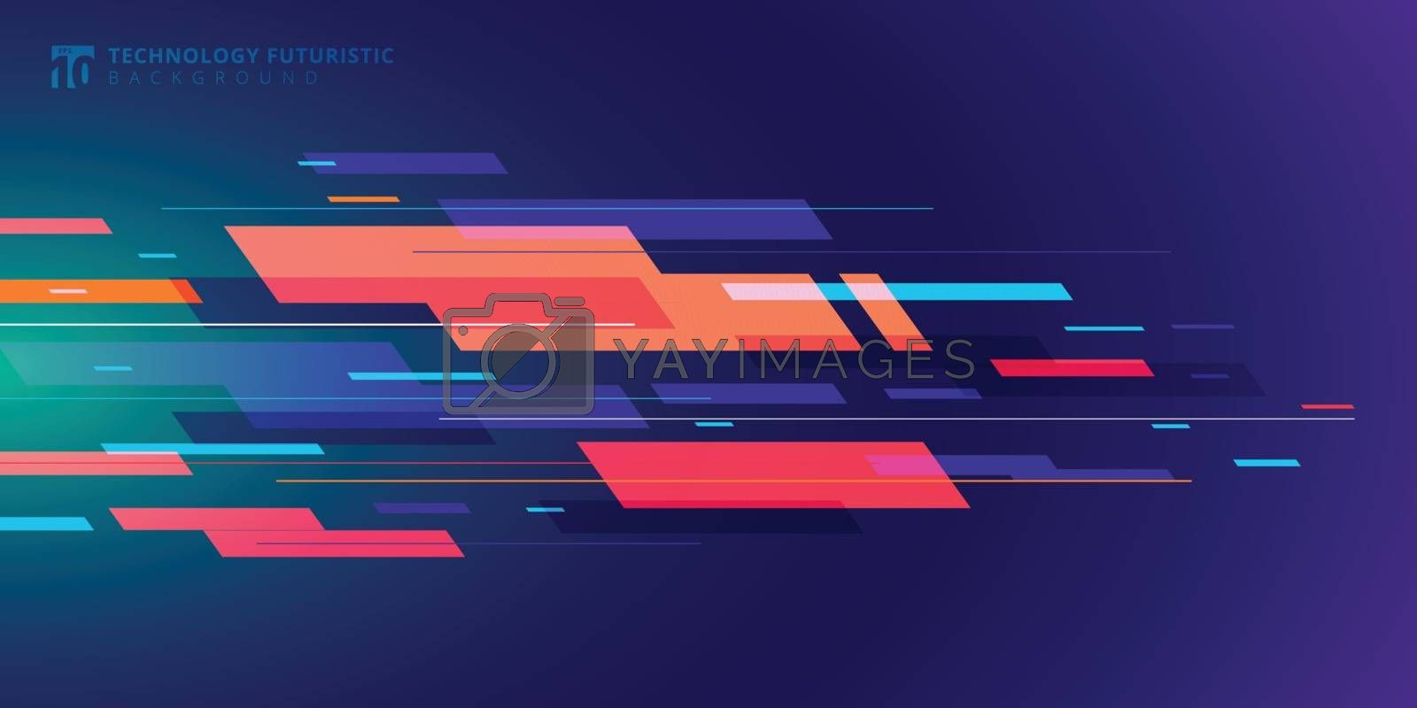 Template banner abstract technology futuristic geometric colorful on dark blue background. Vector illustration