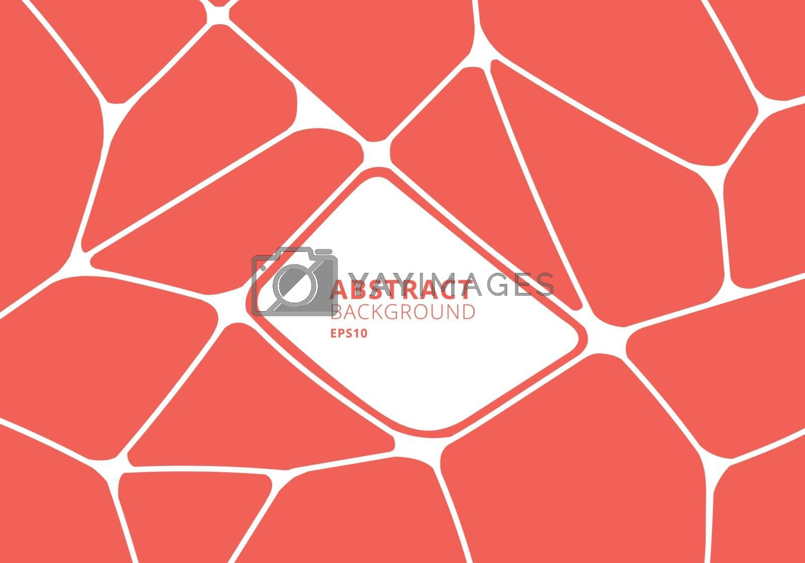 Abstract orange and white geometric voronoi background. Polygonal Mosaic. Vector illustration