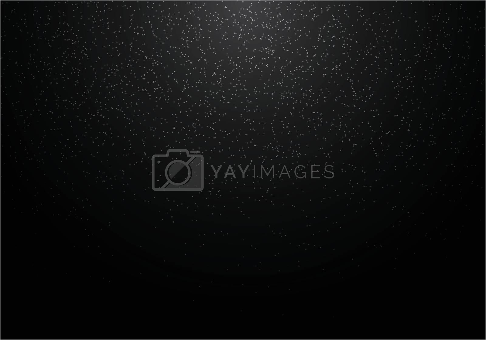 Abstract white glitter on black background. Snow falling. Vector illustration
