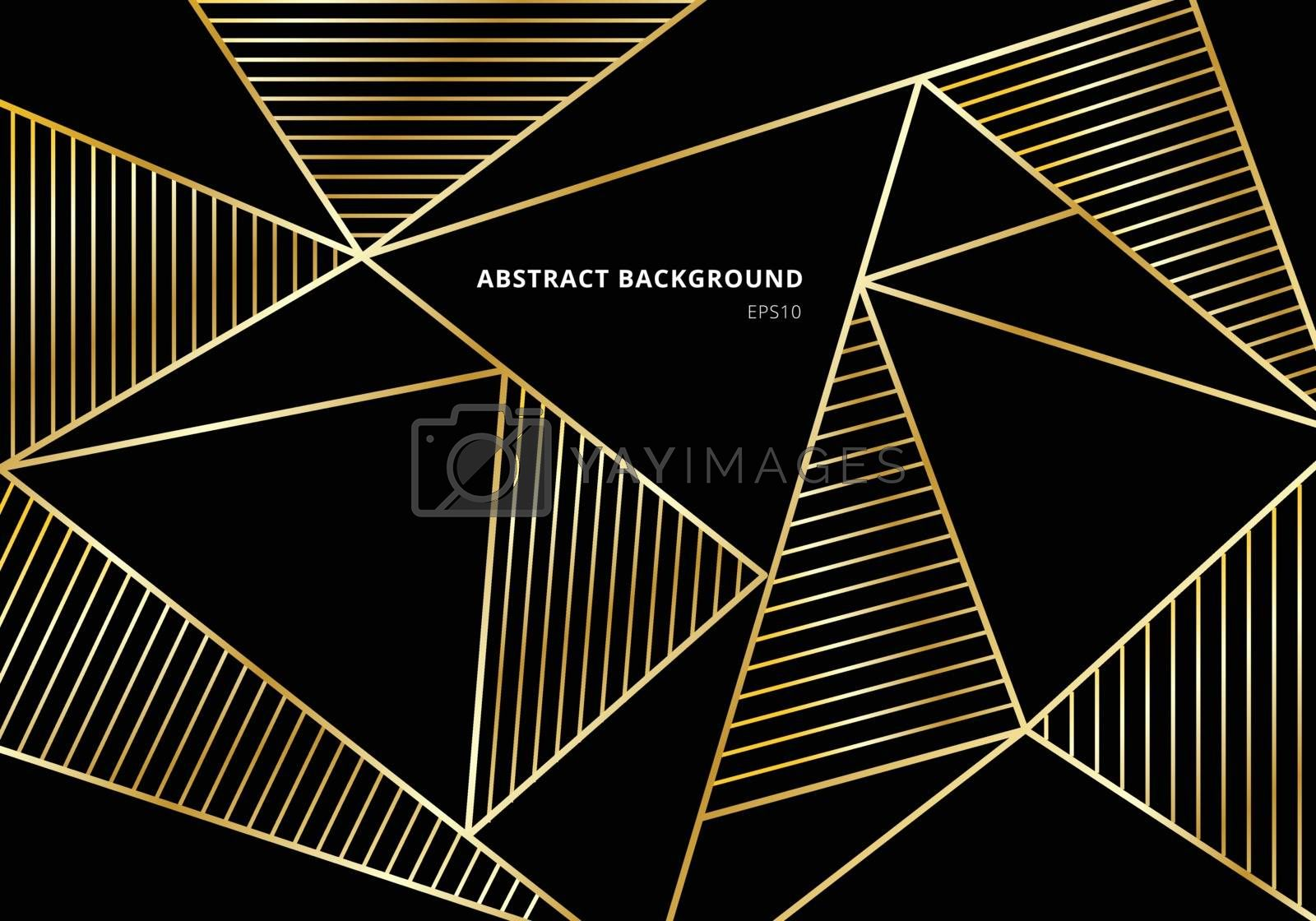 Abstract luxury gold polygonal pattern on black background. Beautiful template with golden geometric and line decoration. Vector illustration