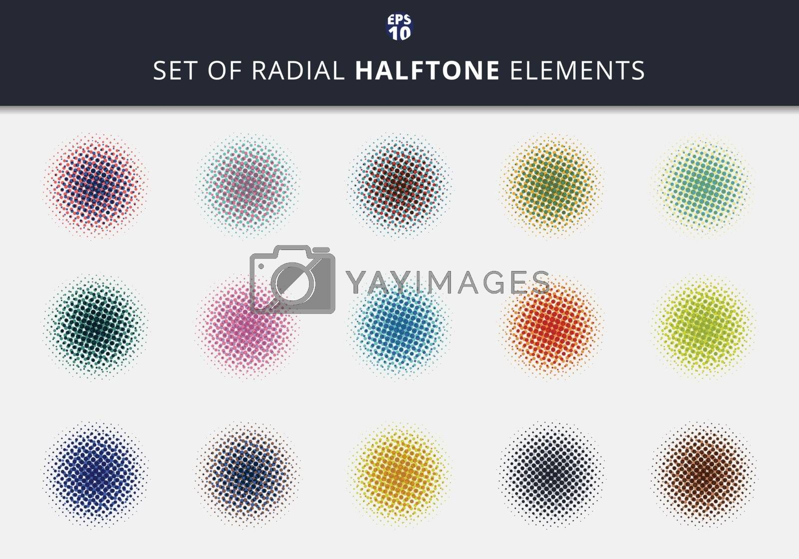 Set of abstract dots halftone circles radial elements on white background. You can use for label, tag, icon, etc. Vector illustration