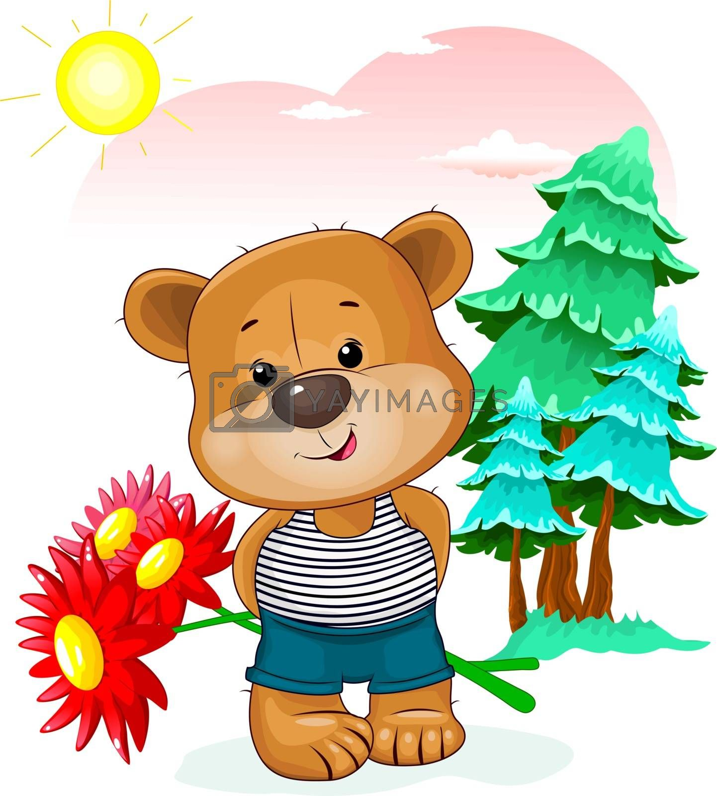 Little bear with flowers on the background of trees, sky and sun. A bear holds a bouquet of red flowers.