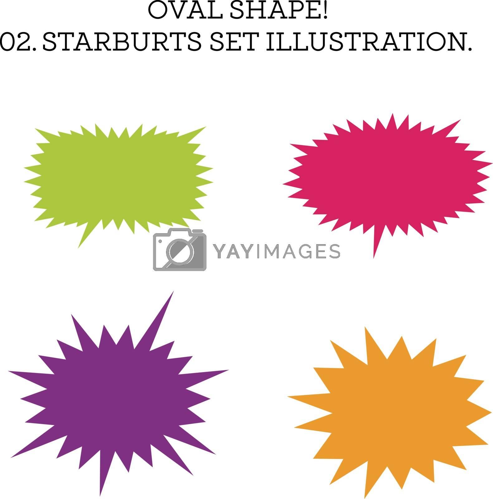 Starburst speech bubble set oval shape. Vector illustration on white background