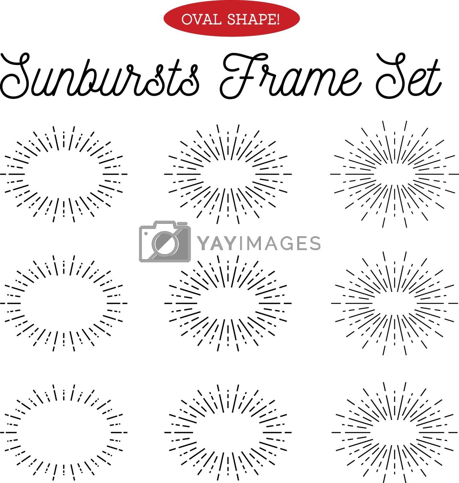 Sunbursts frame set. Oval shape. Vector illustration on white background