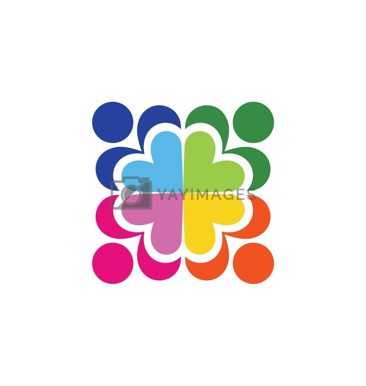 floral shape pattern and teamwork hearts logo people crowd connection care symbol icon vector design illustration