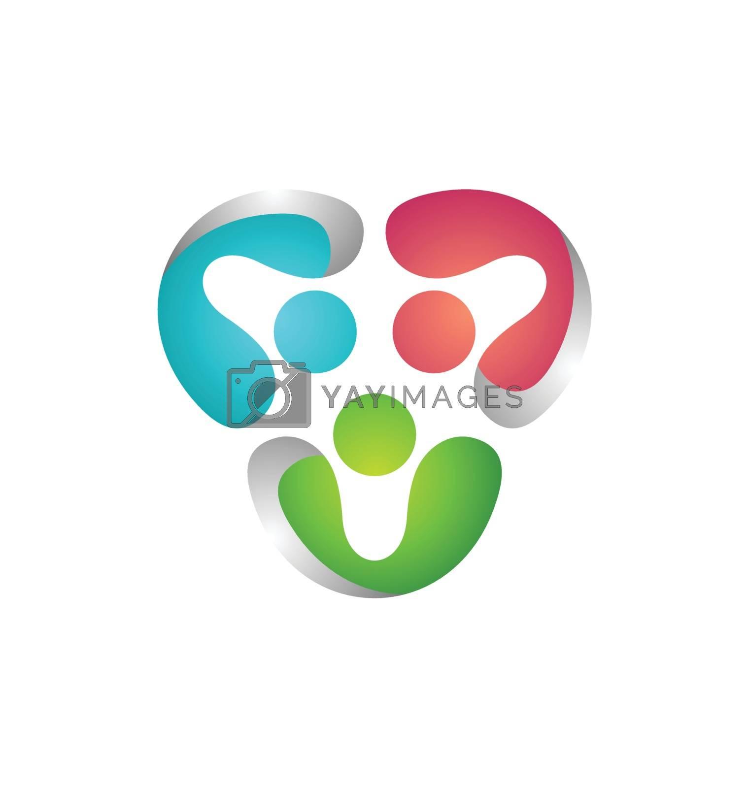 modern global teamwork logo symbol icon vector design illustration