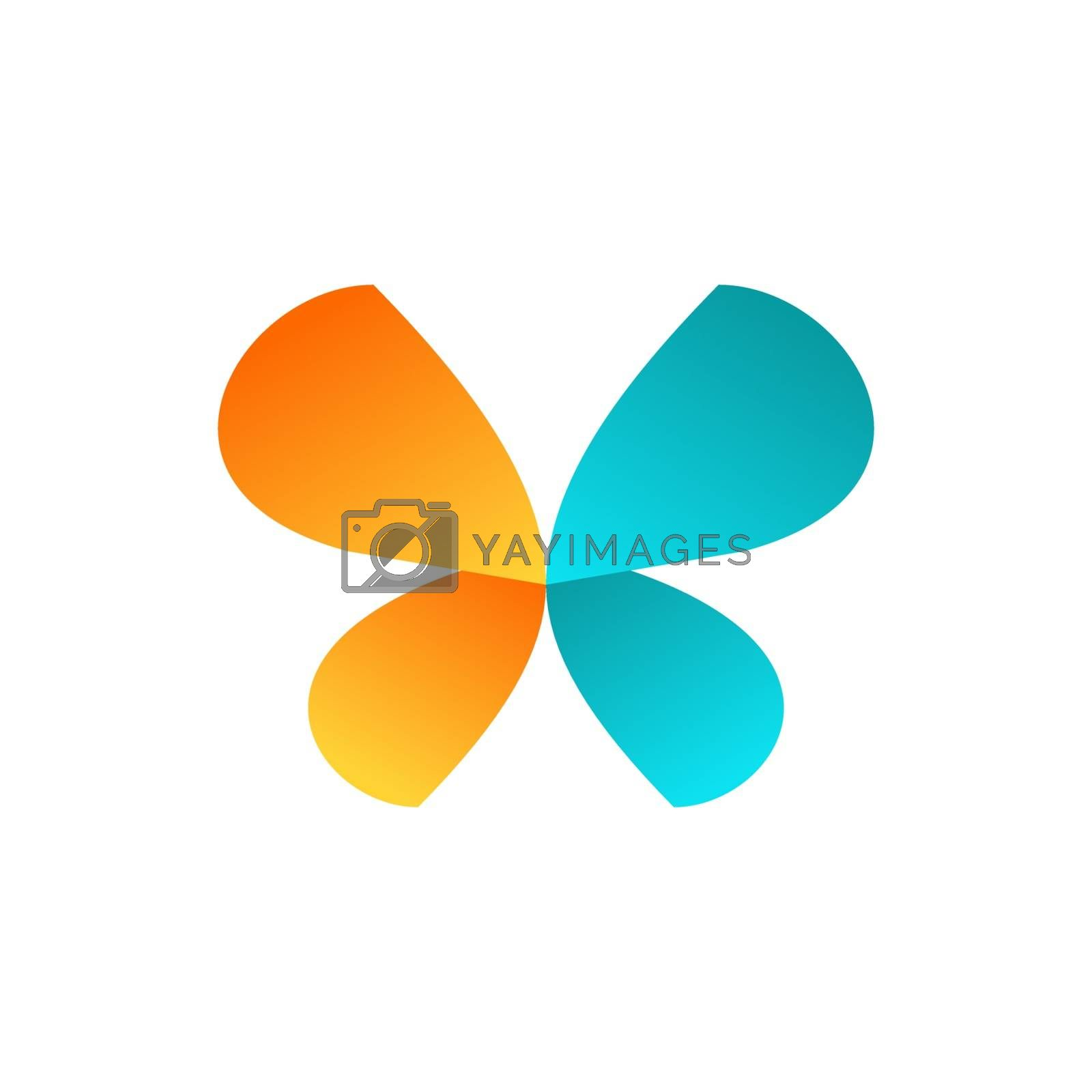 beauty colorized butterfly logo symbol icon vector design illustration