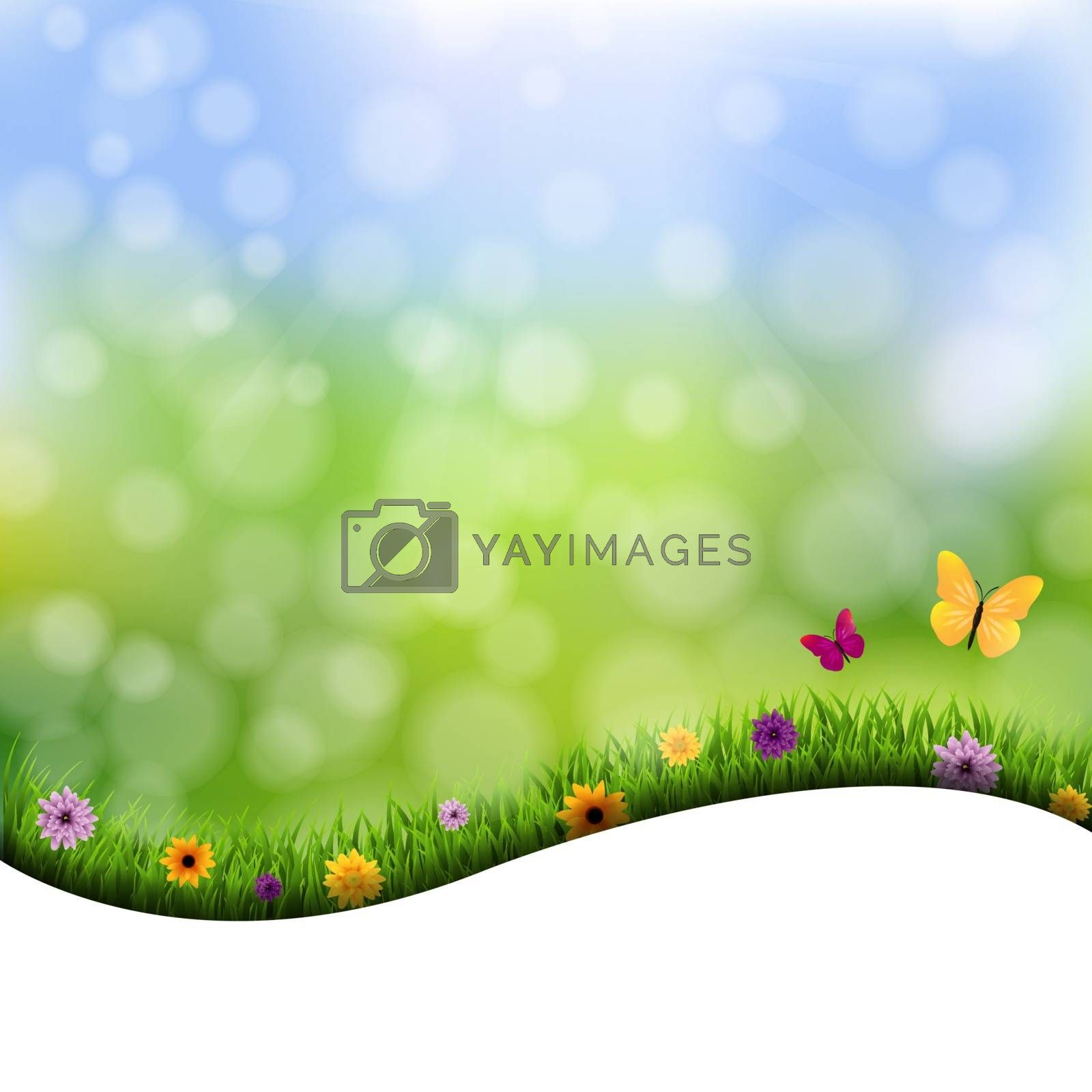 Grass And Flowers Border Nature Background by barbaliss