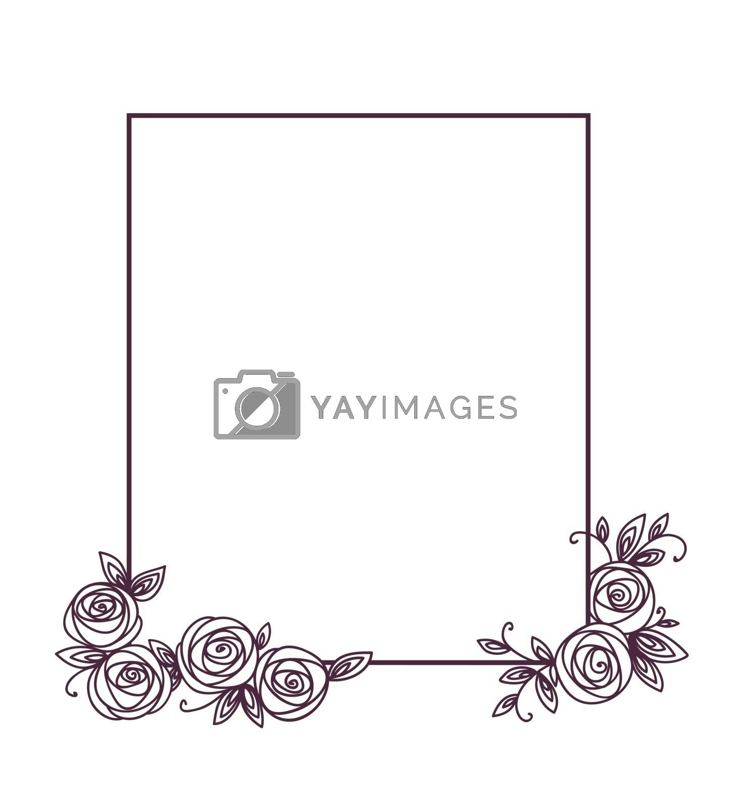 Vintage cute floral frame. Hand drawn illustration for for wedding, greeting, birthday decoration design