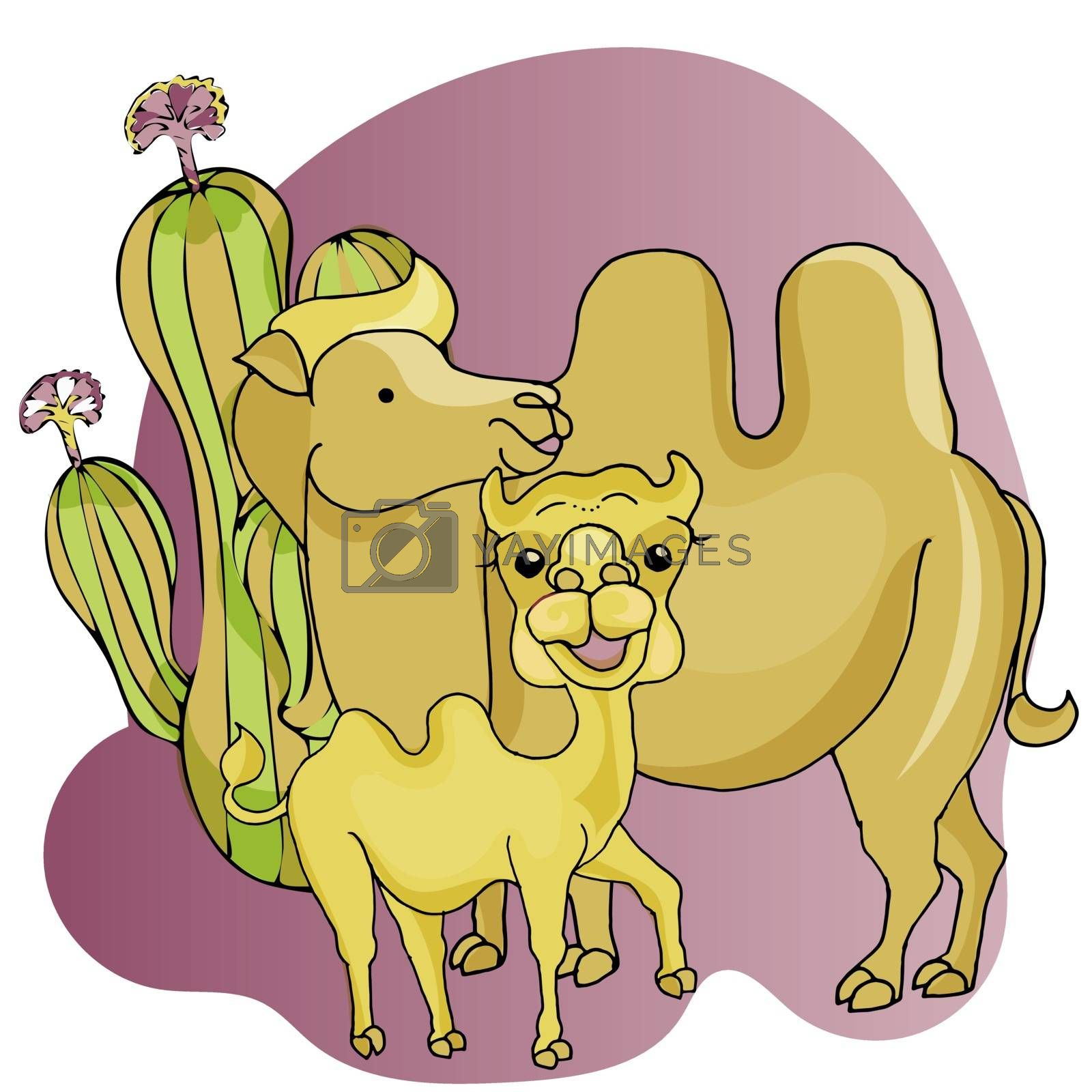 Two camel mom and baby camel in cartoon style.
