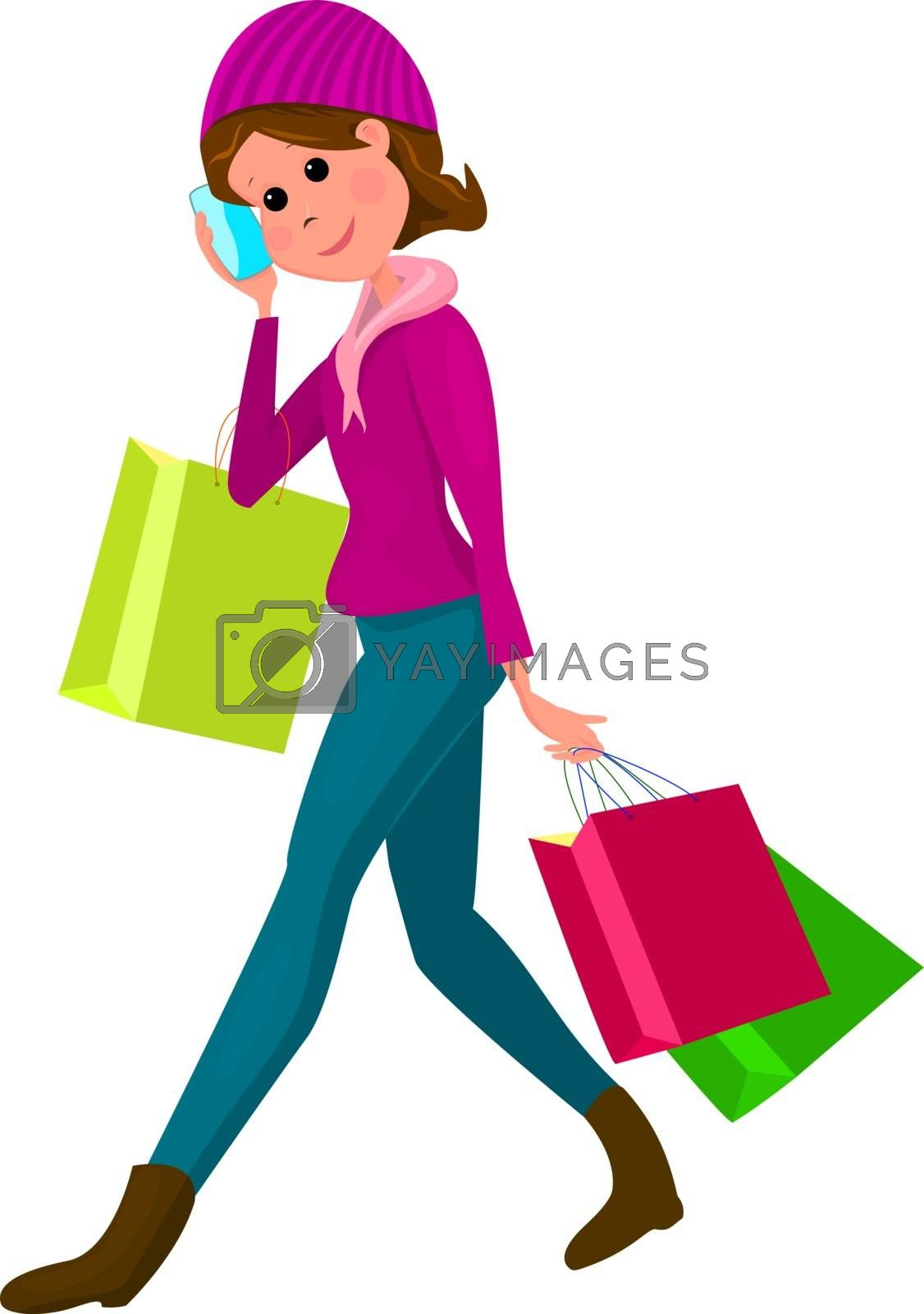 Young woman with shopping bags by liolle