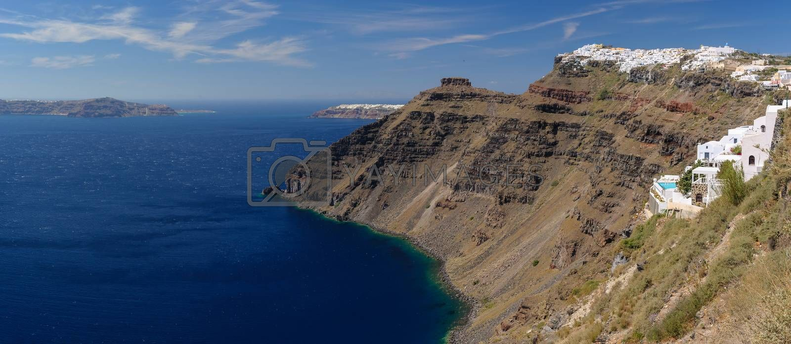 Typical view from Fira village to caldera sea and other villages, Santorini island, Greece