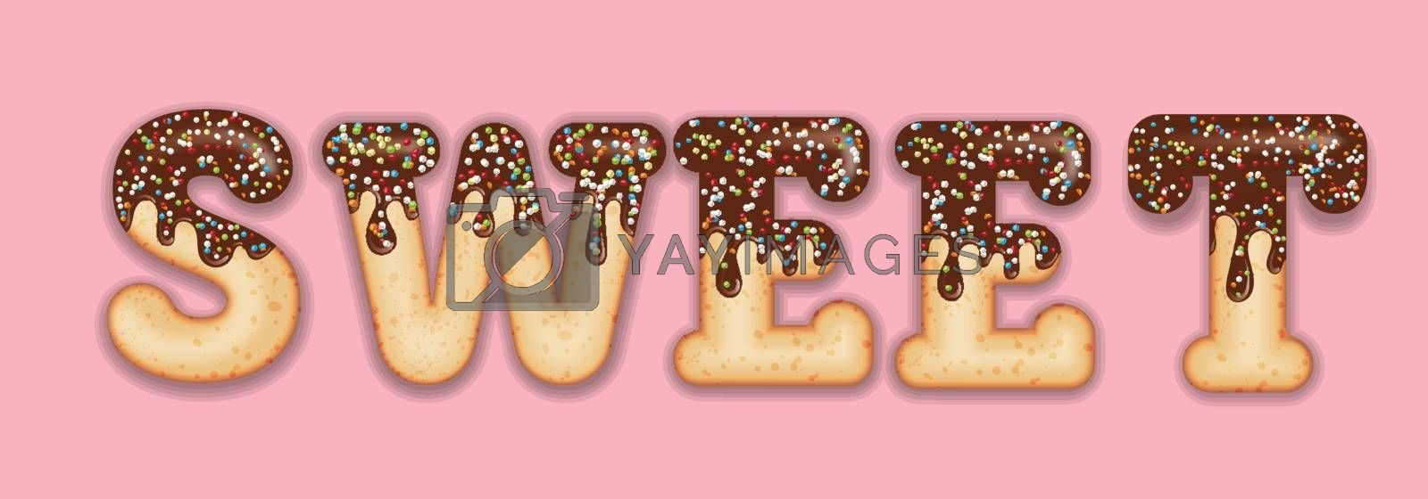 "Tempting  typography. Icing text. Word  ""sweet"" glazed with chocolate and candy. Donut letters. Vector"