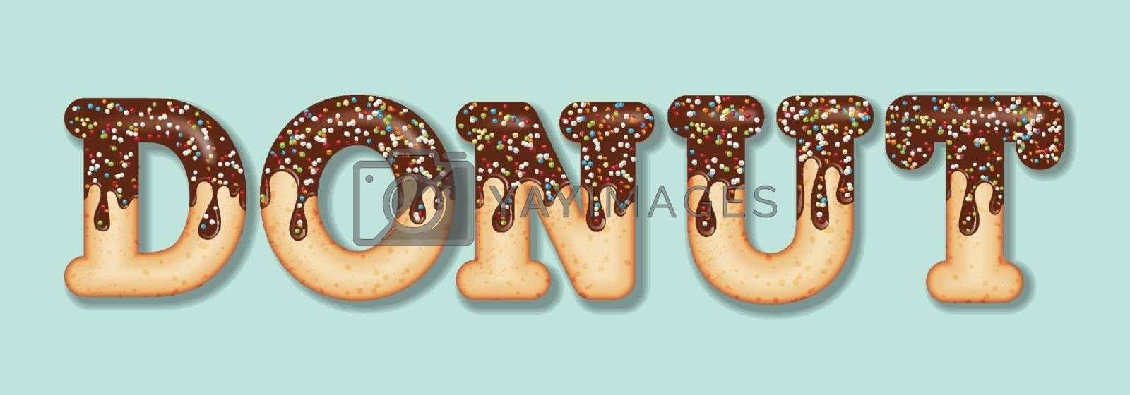 "Tempting  typography. Icing text. Word  ""donut"" glazed with chocolate and candy. Donut letters. Vector"