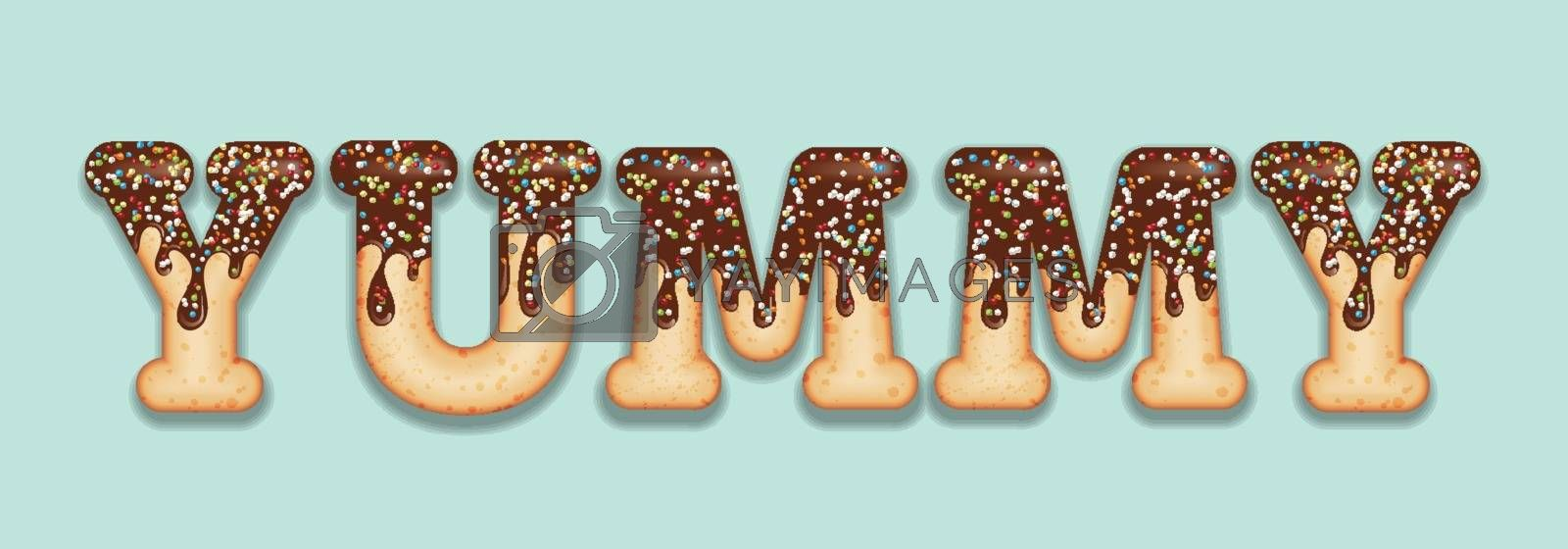 "Tempting  typography. Icing text. Word  ""yammy"" glazed with chocolate and candy. Donut letters. Vector"